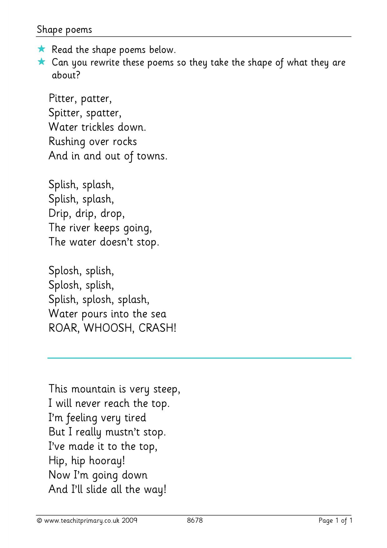 Poetry Exploring Form Search Results Teachit Primary