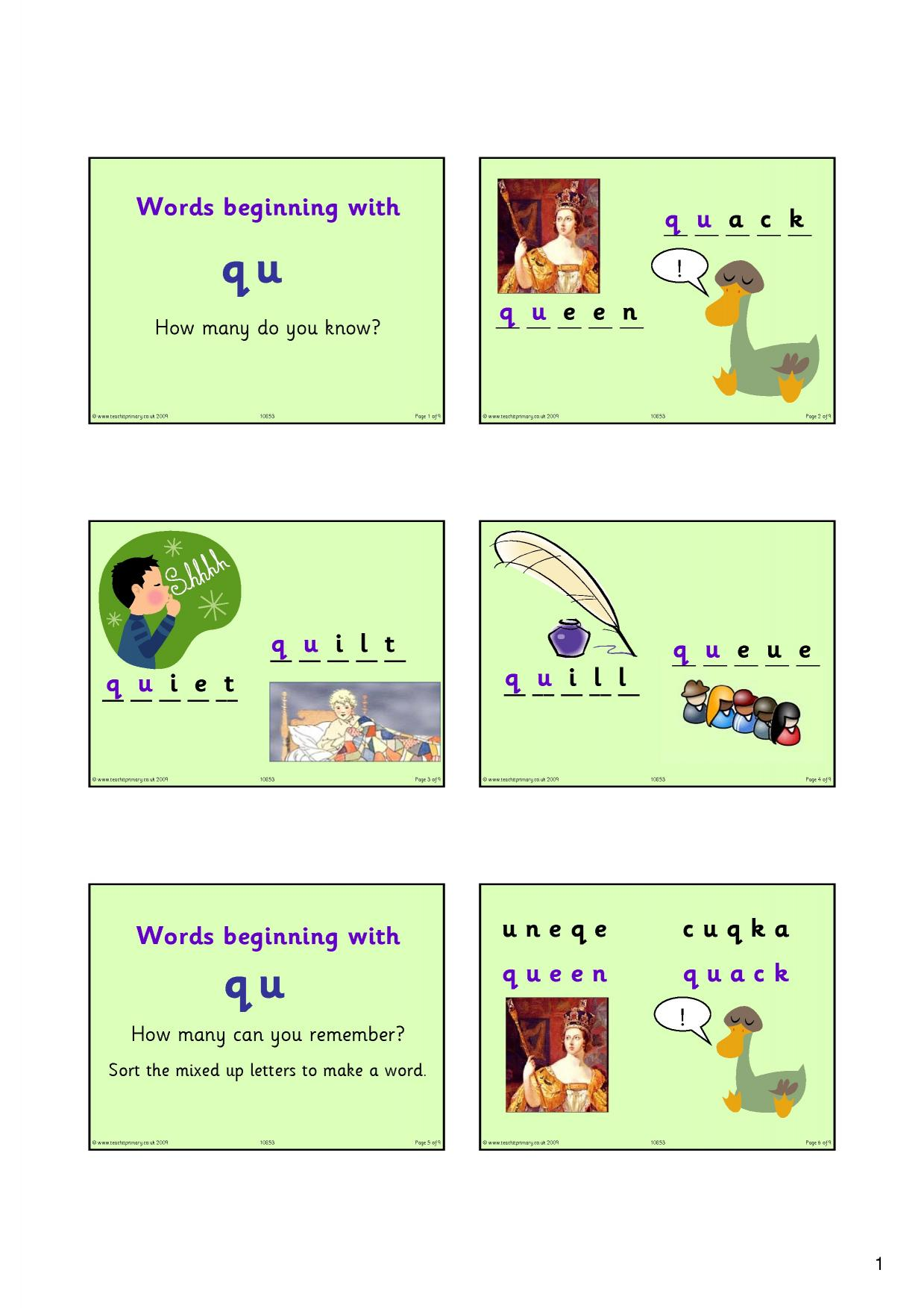 worksheet Qu Words words starting with qu phonics home page resource thumbnail