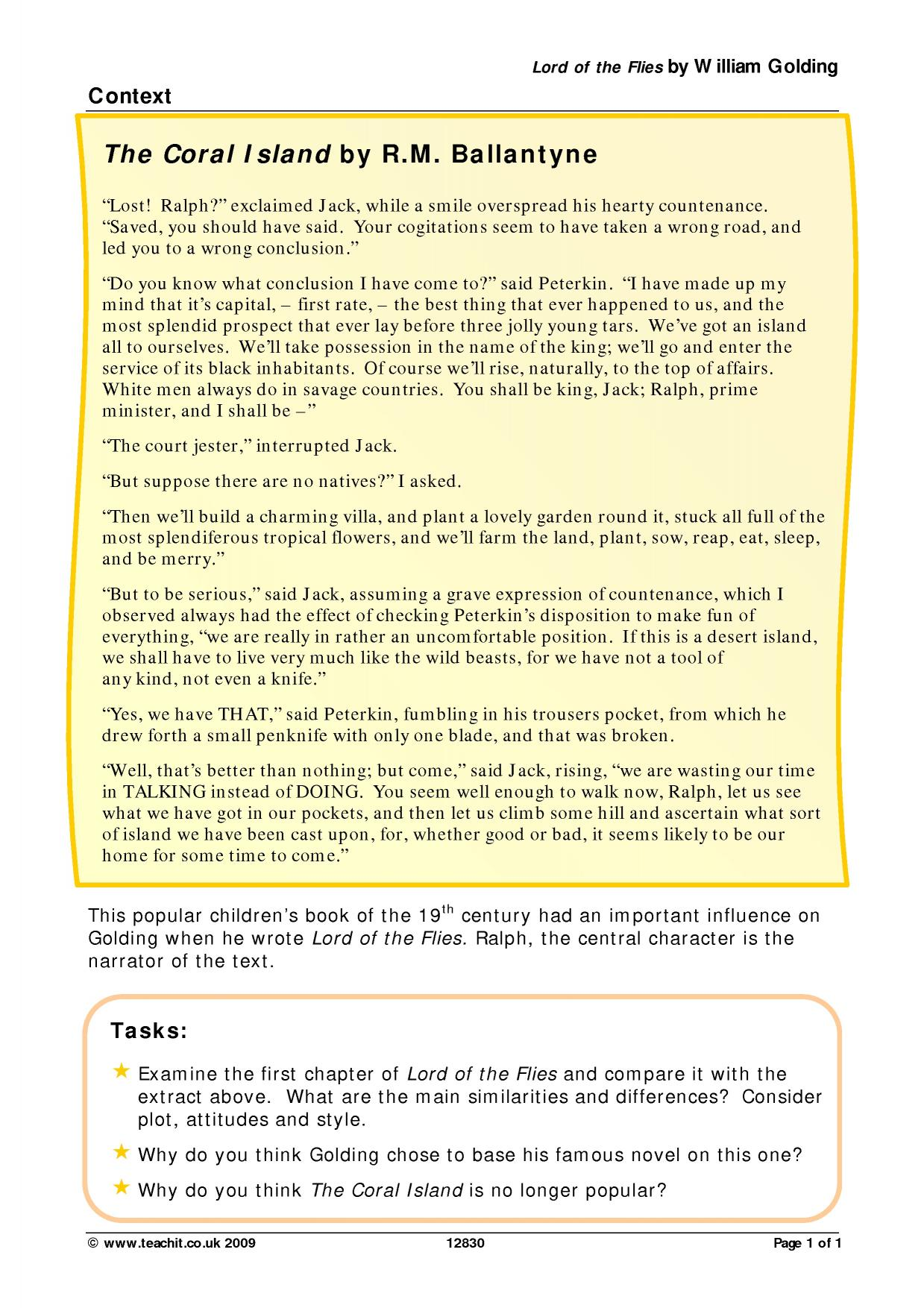 ks prose  lord of the flies by william golding  teachit english