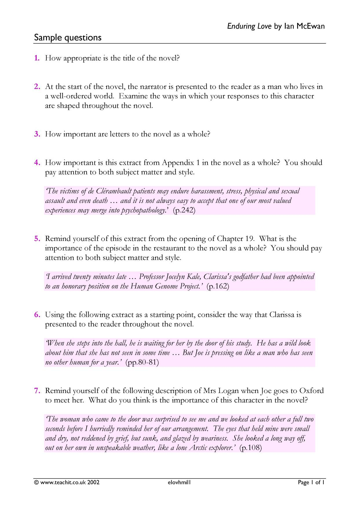 'A' LEVEL REVISION NOTES FOR ENDURING LOVE BY IAN MCEWAN PT 19