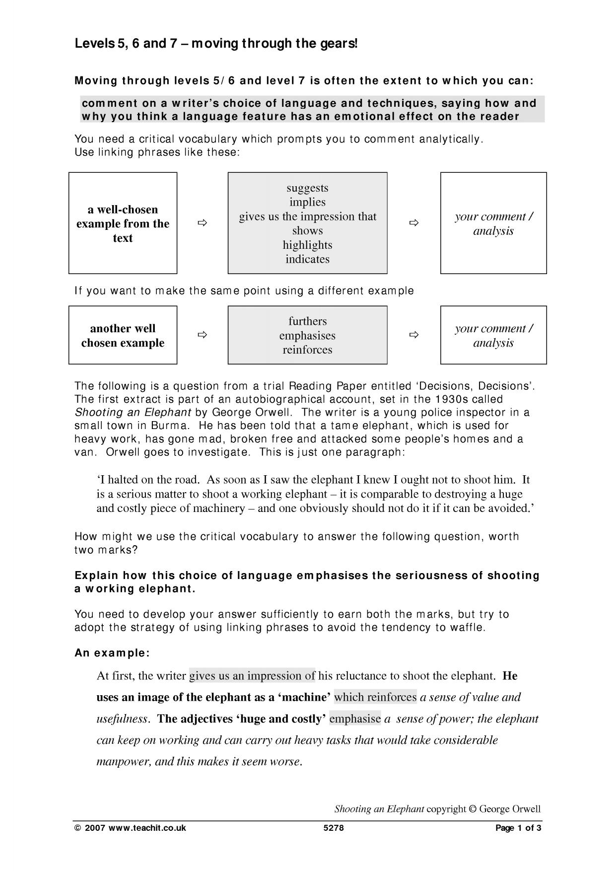 reading paper levels 5 6 and 7 moving through the gears reading skills critical reading assessment and revision home - Critical Reading Essay Example