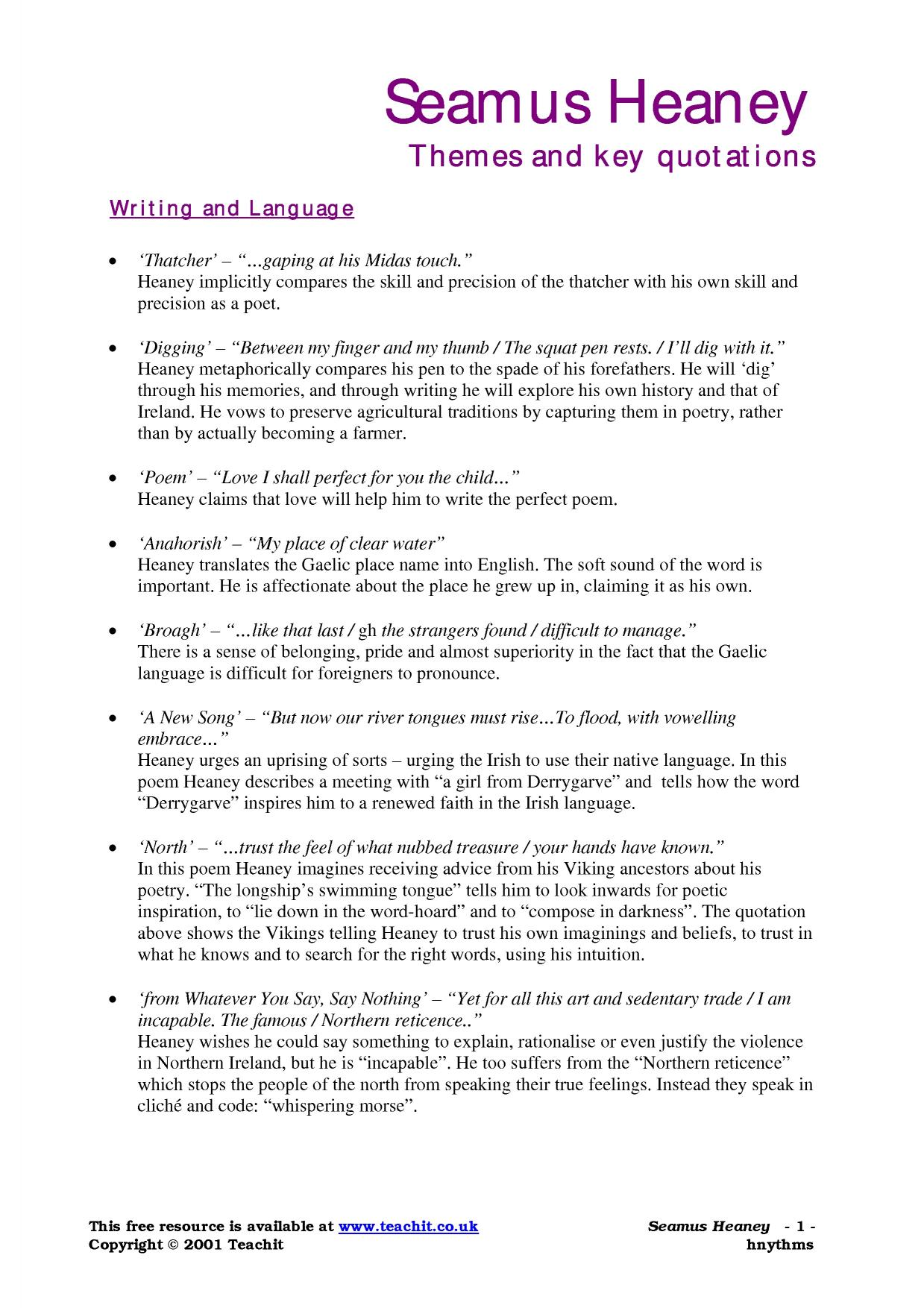 seamus heaney comparative essay Seamus heaney essay  this essay i will be comparing three seamus heaney poems we looked at in class these are called,  poetry comparative essay guide.