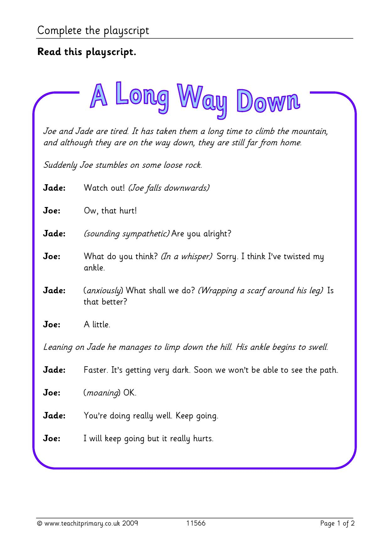 play script writing worksheets
