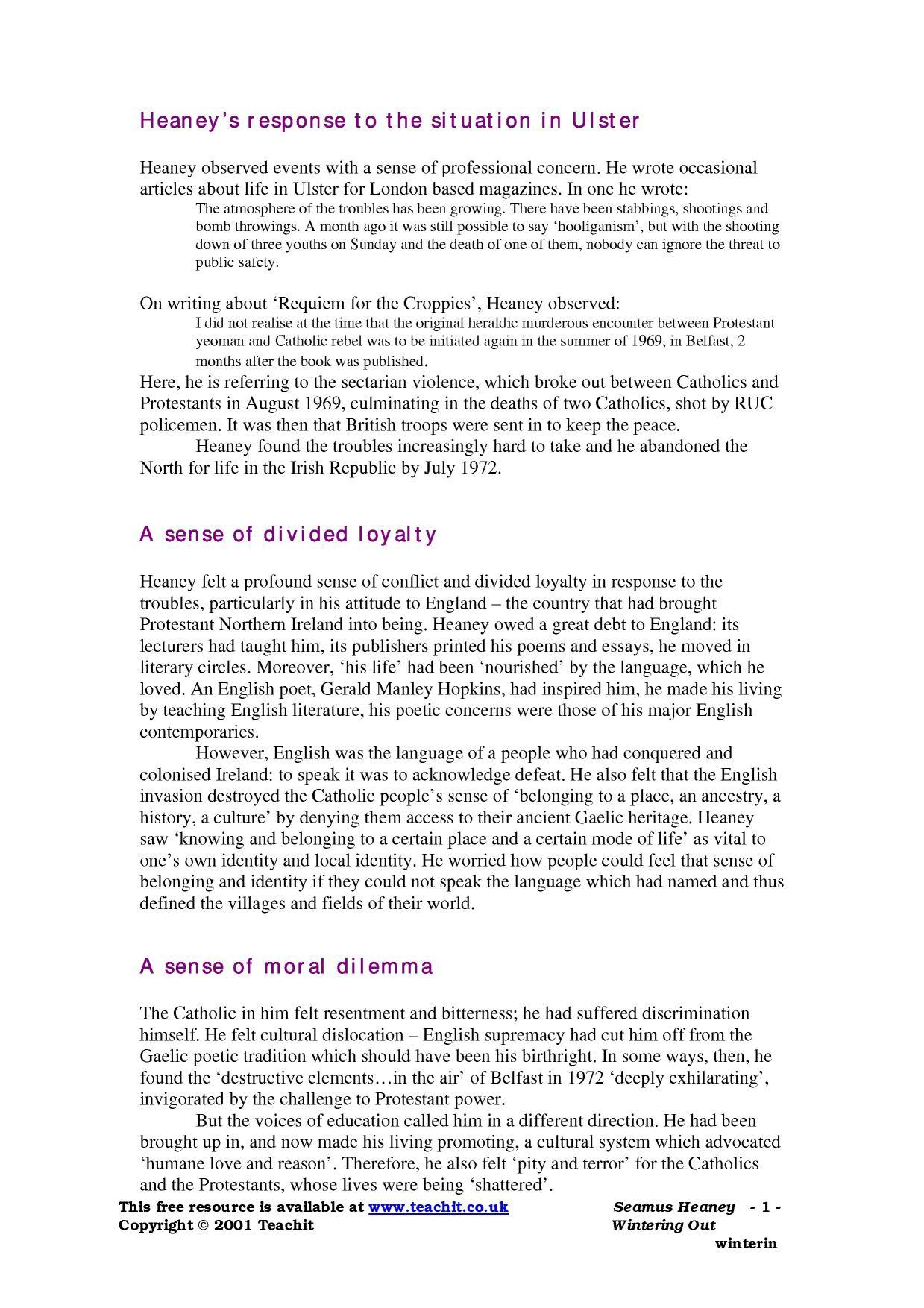 seamus heaney essay punishment