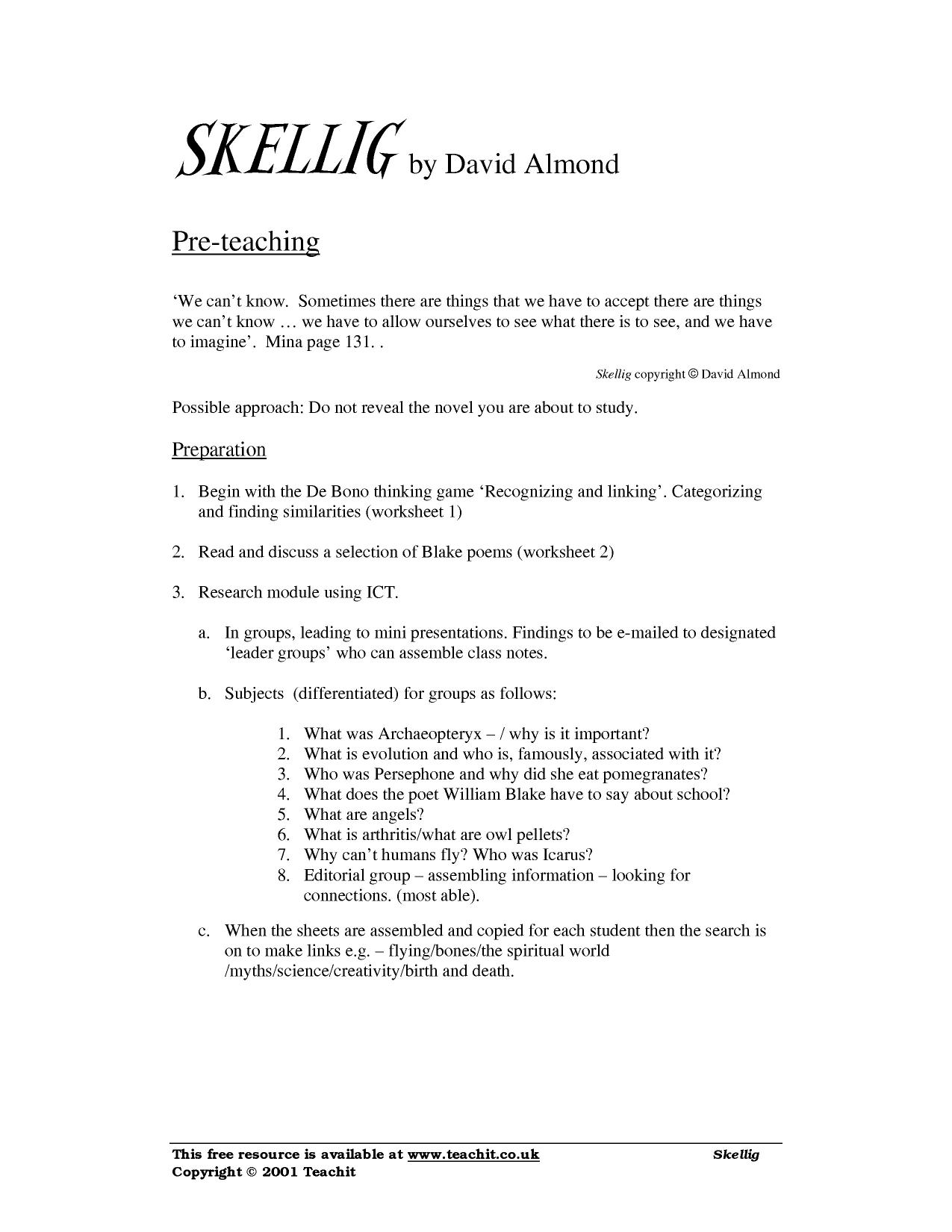 Worksheets The Pigman Worksheets ks3 prose skellig by david almond teachit english 5 preview