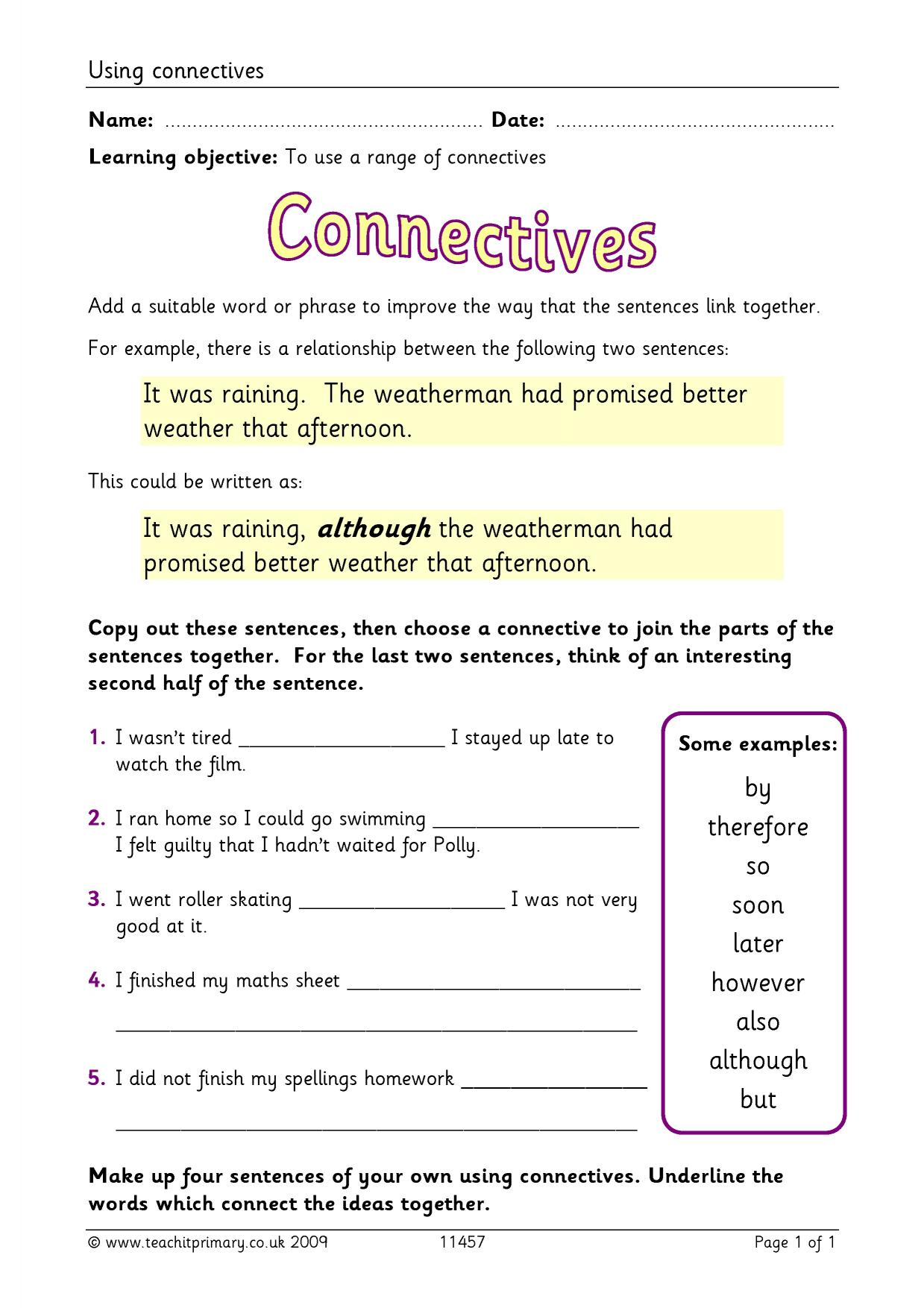 Worksheets Conjunctions Worksheets ks2 conjunctions and connectives teachit primary 5 preview
