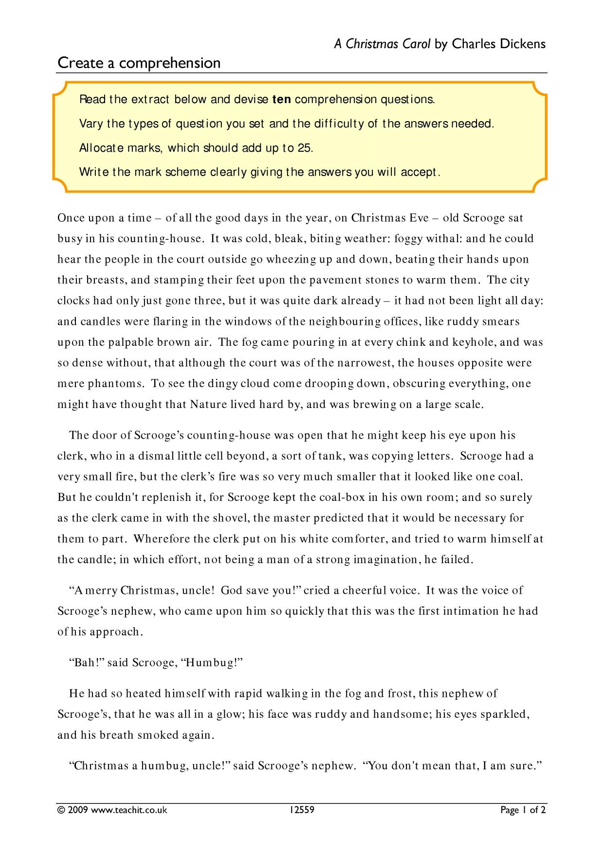 Create a comprehension - A Christmas Carol by Charles Dickens - Home page