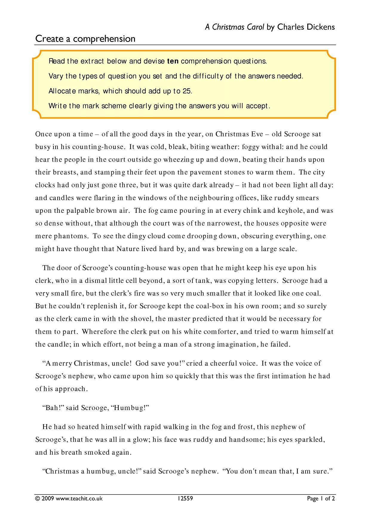 worksheet A Christmas Carol Worksheets ks4 a christmas carol by charles dickens teachit english 7 preview