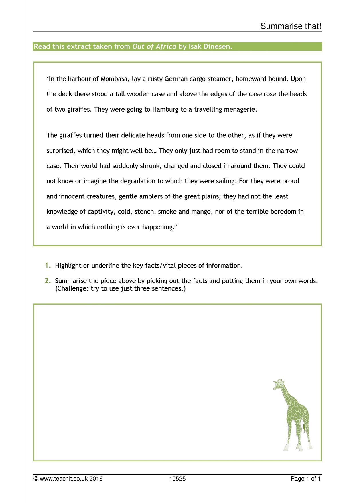 Worksheets Worksheets On Summarizing summarise that starters summarising home resource thumbnail