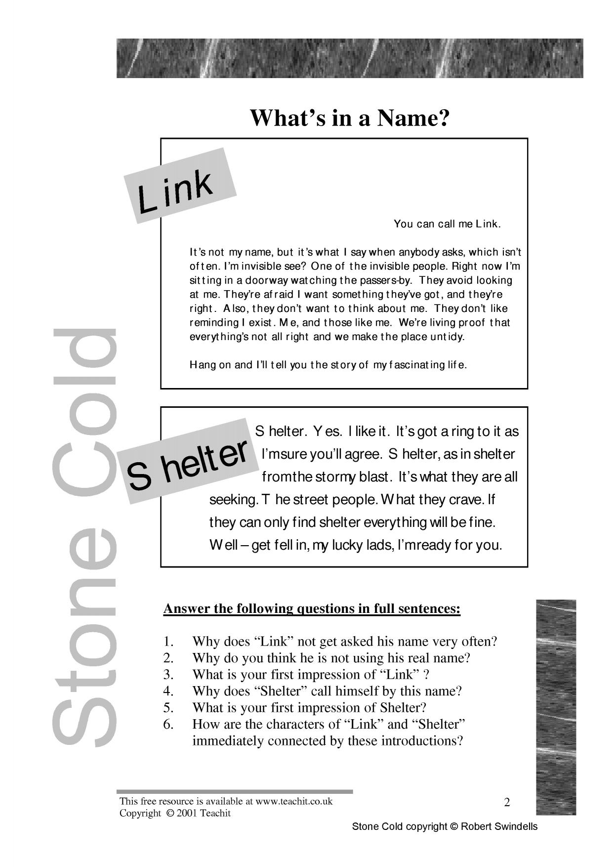 KS3 Stone Cold by Robert Swindells – Seeking Safety Worksheets