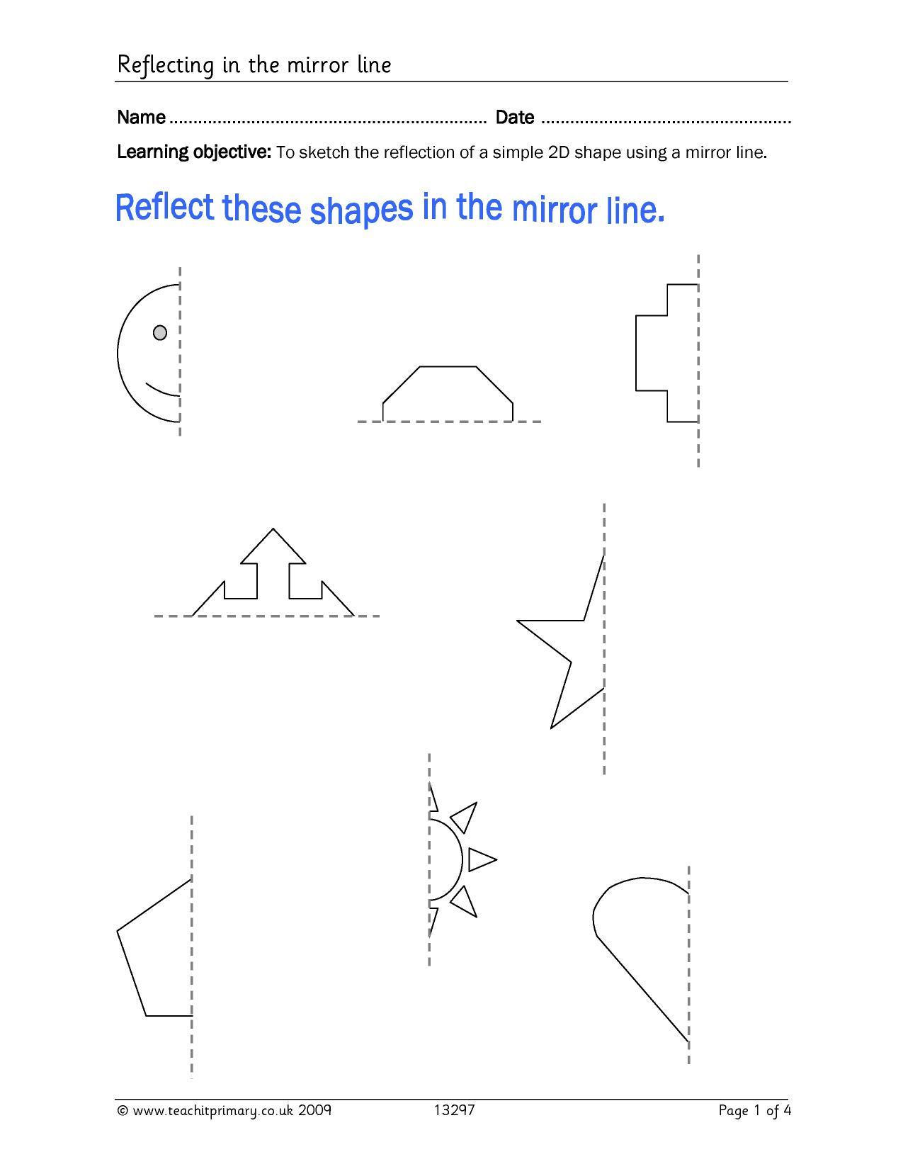 worksheet Non Symmetrical Shapes Worksheet eyfs ks1 ks2 properties of shapes symmetry teachit primary 4 preview