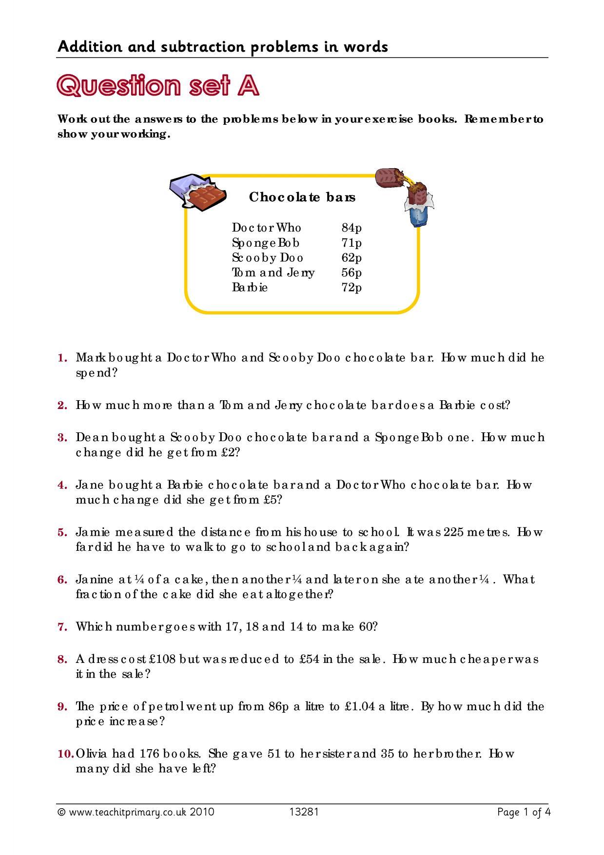 Adding decimals word problems worksheet ks2