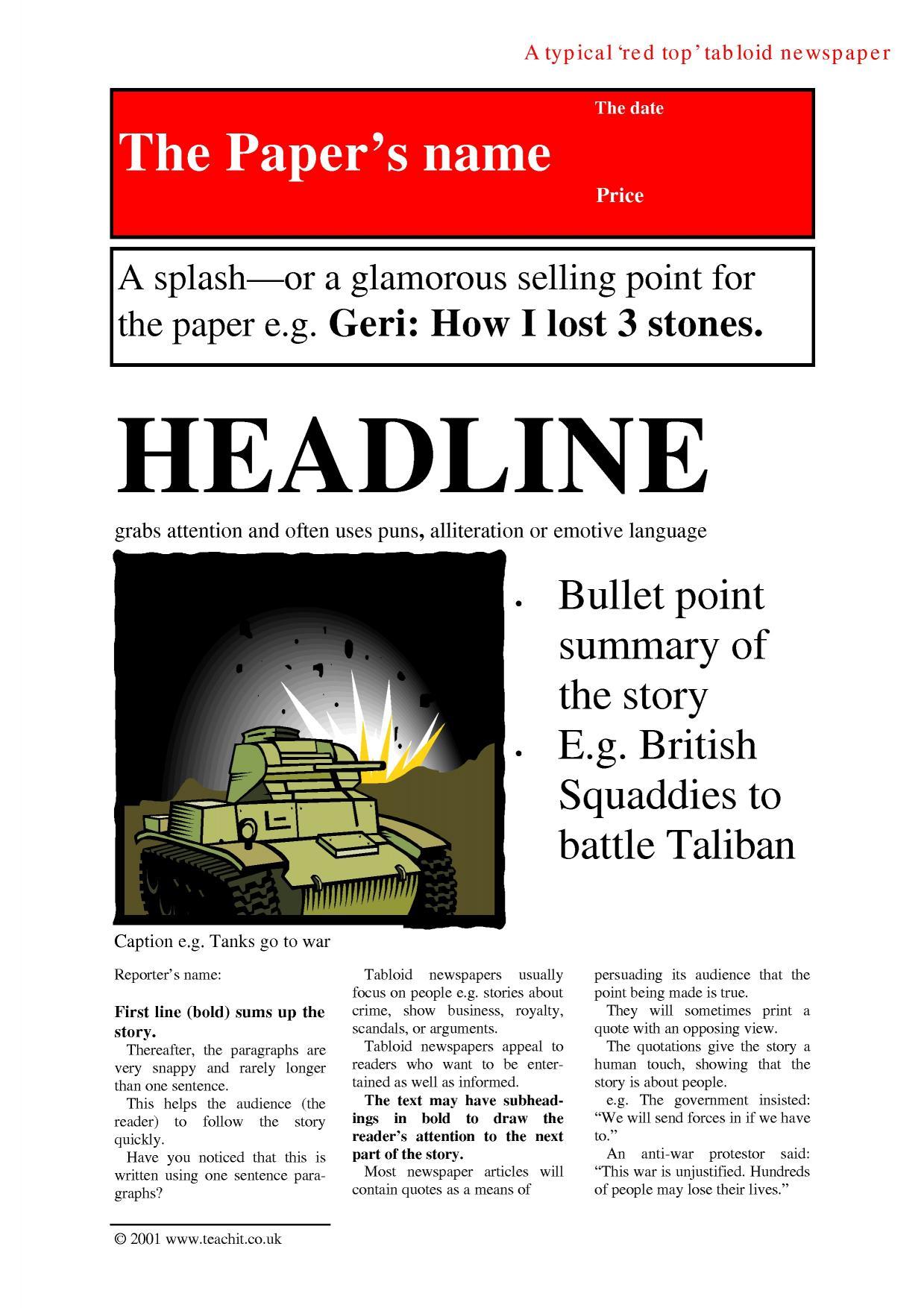 Ks4 Newspapers Teachit English