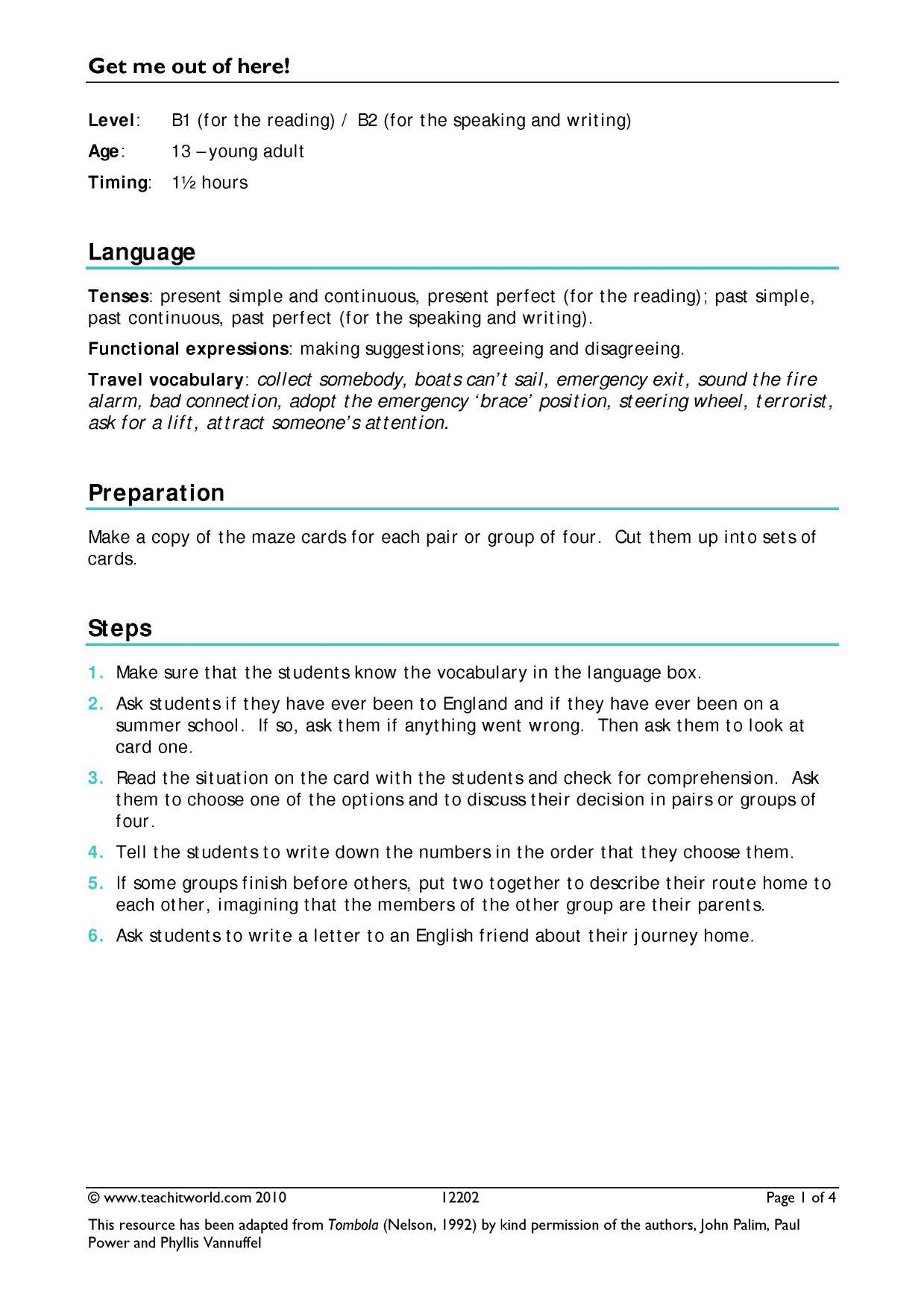 B1 Reading   Travel (intermediate)   Teachit Languages