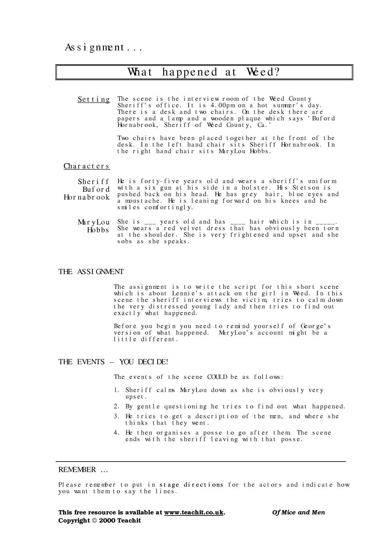 Ks3 Of Mice And Men By John Steinbeck Teachit English