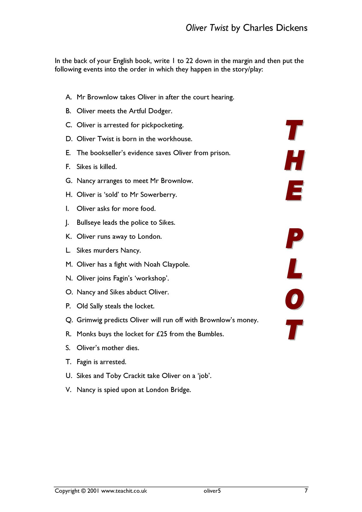 sequence the plot oliver twist by charles dickens home page resource thumbnail