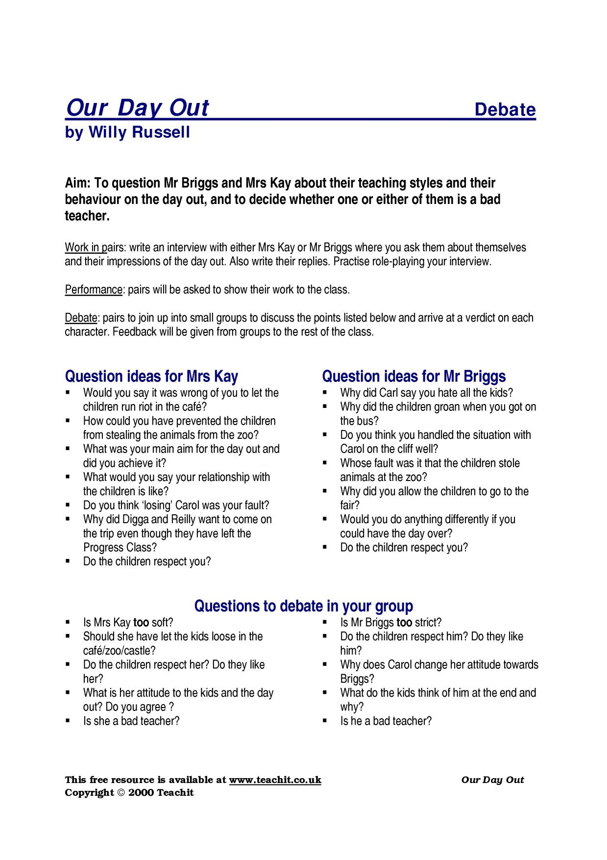 KS4 Plays | Our Day Out by Willy Russell | Teachit English