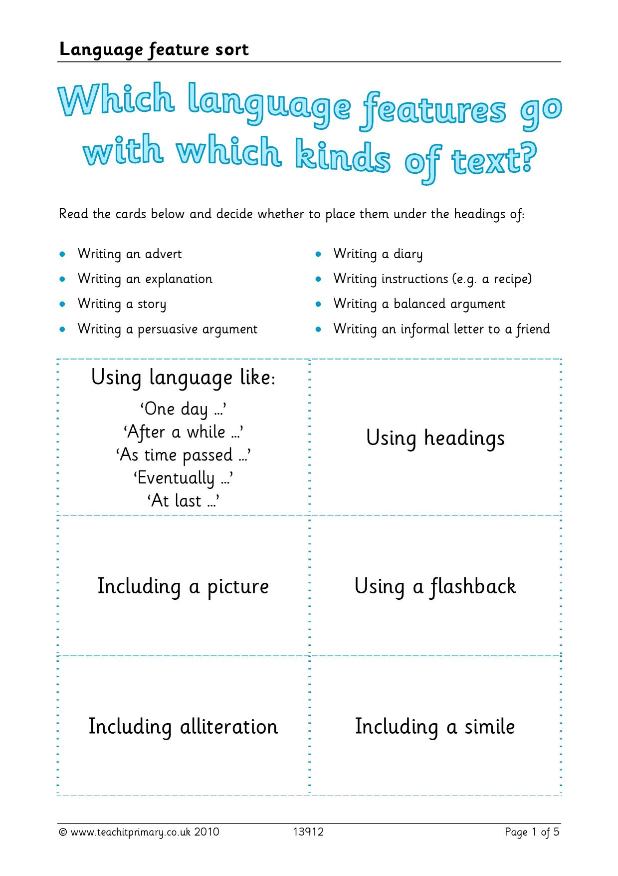 worksheet Similes And Metaphors Ks2 Worksheets ks2 features of writing teachit primary 1 preview