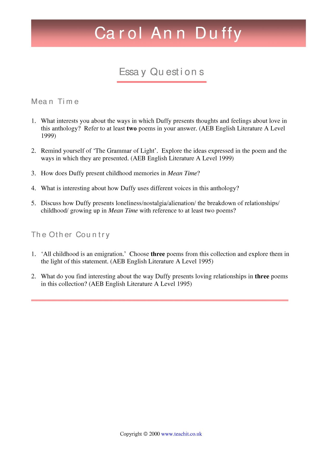 carol ann duffys 1993 collection mean time essay We will write a cheap essay sample on carol ann duffy specifically for you for only $1290 the other country (1990) mean time (1993) carol anne duffy draft.