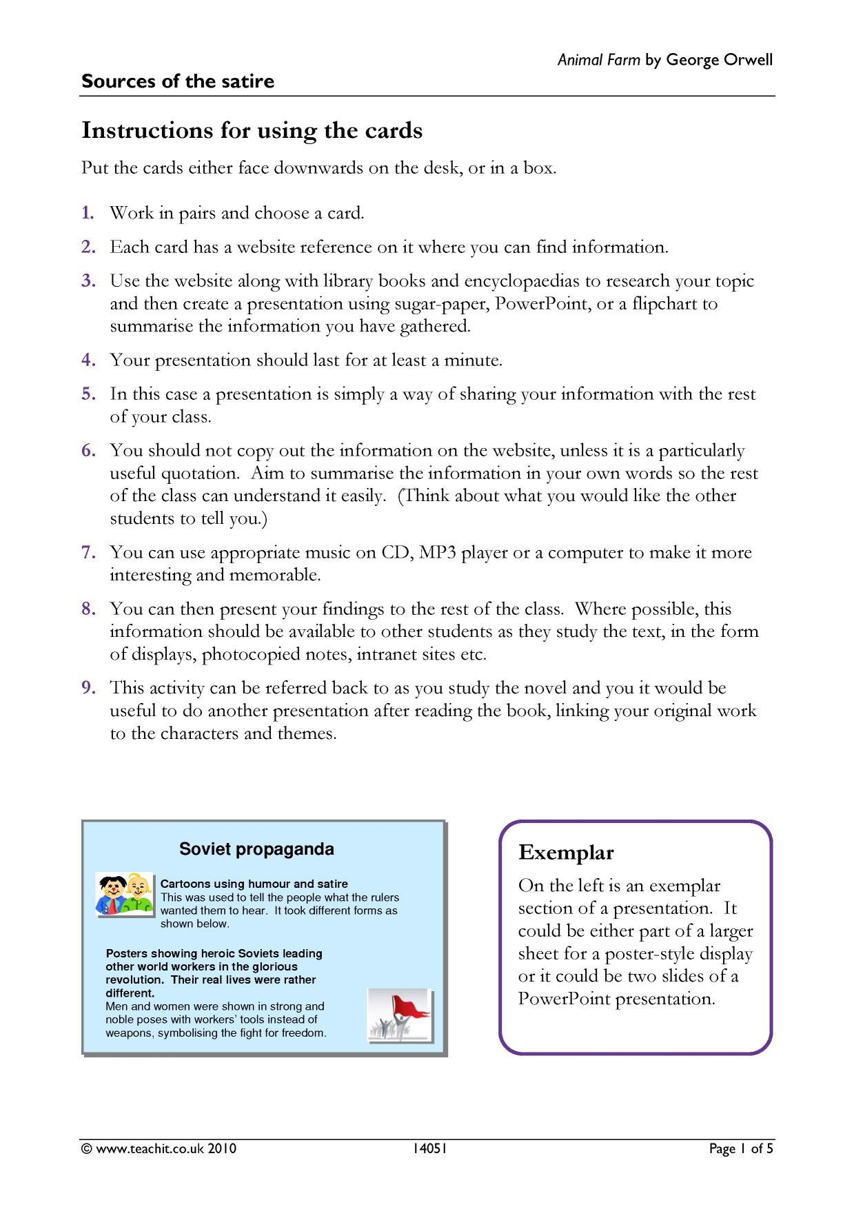 Ks4 Prose Animal Farm By George Orwell Teachit English
