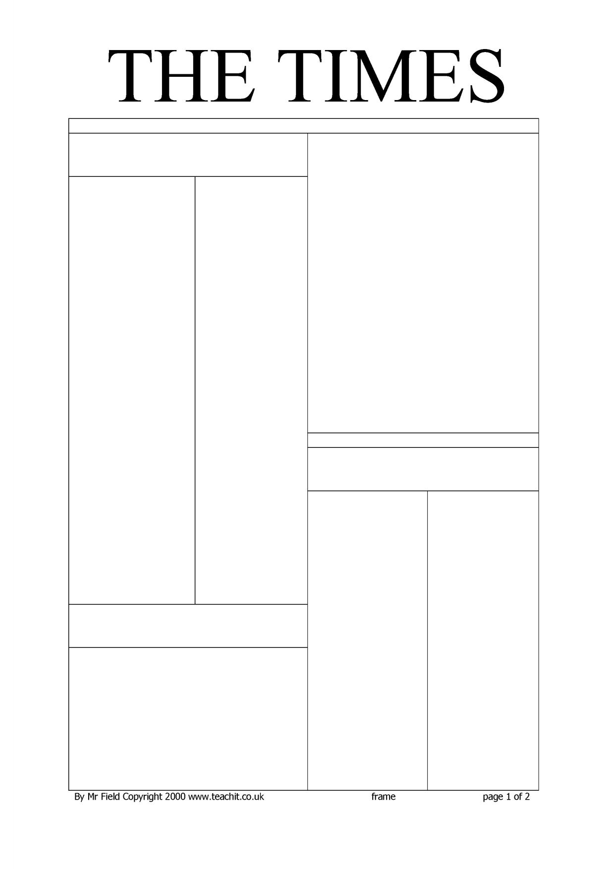 newspaper template layout