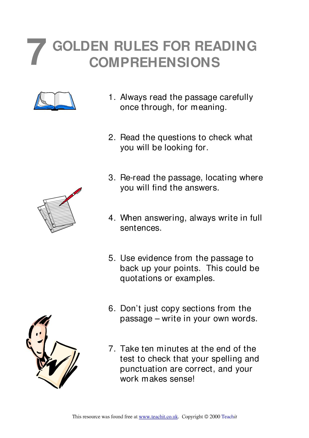 - 7 Golden Rules For Reading Comprehensions