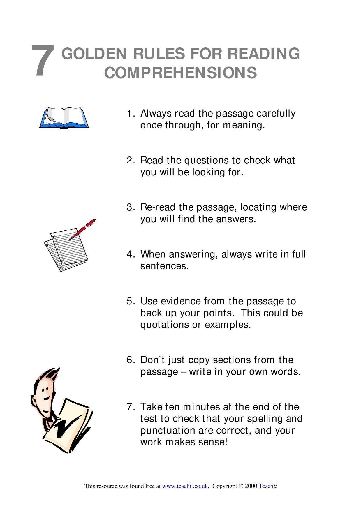 7 golden rules for reading comprehensions reading skills comprehension home. Black Bedroom Furniture Sets. Home Design Ideas