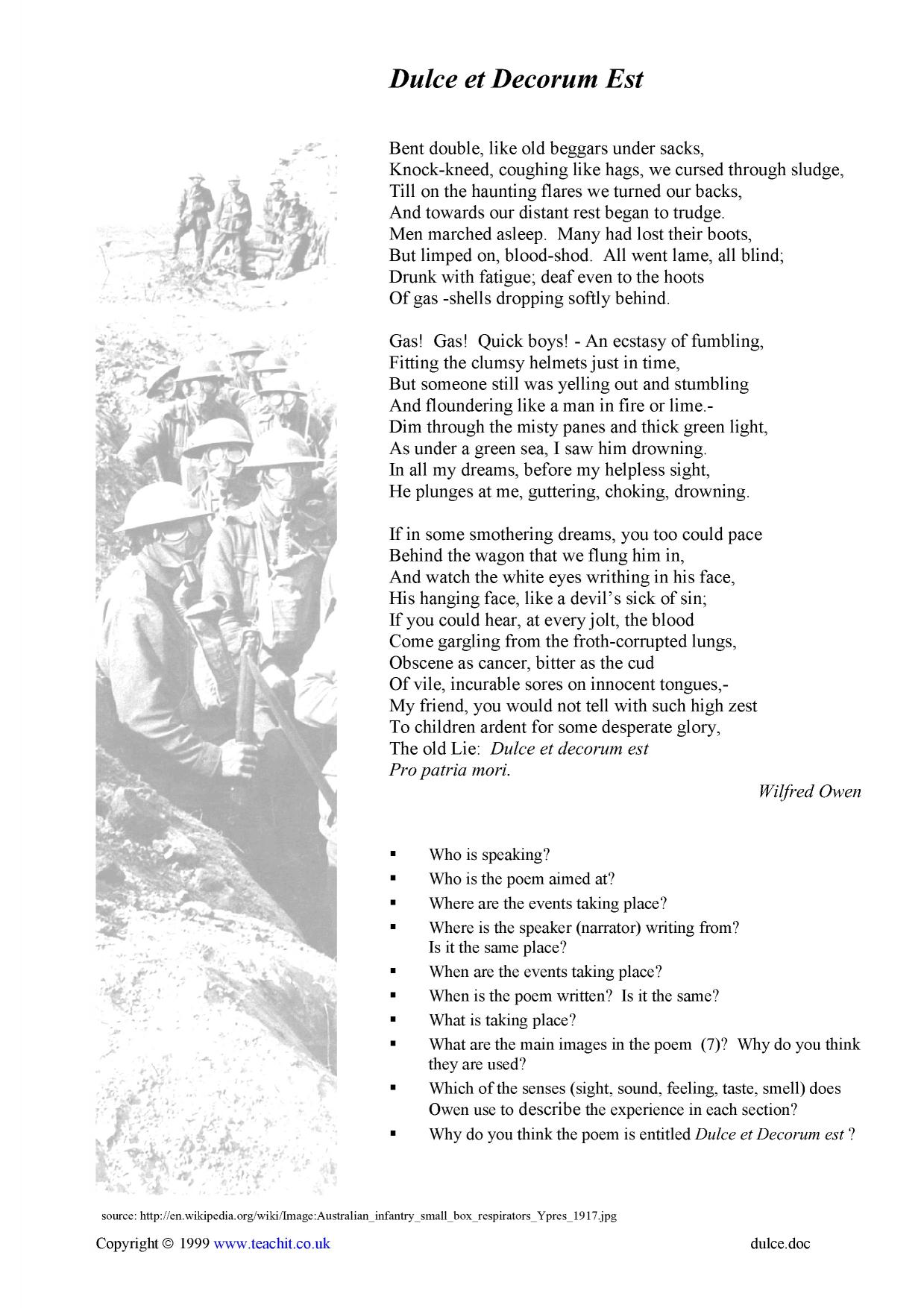 a literary analysis and a comparison of anthem for doomed youth and dulce et decorum est by wilfred  An analysis of dulce et decorum est  dulce analysis 1 dulce et decorum  overviewwilfred owen's poem dulce et decorum.