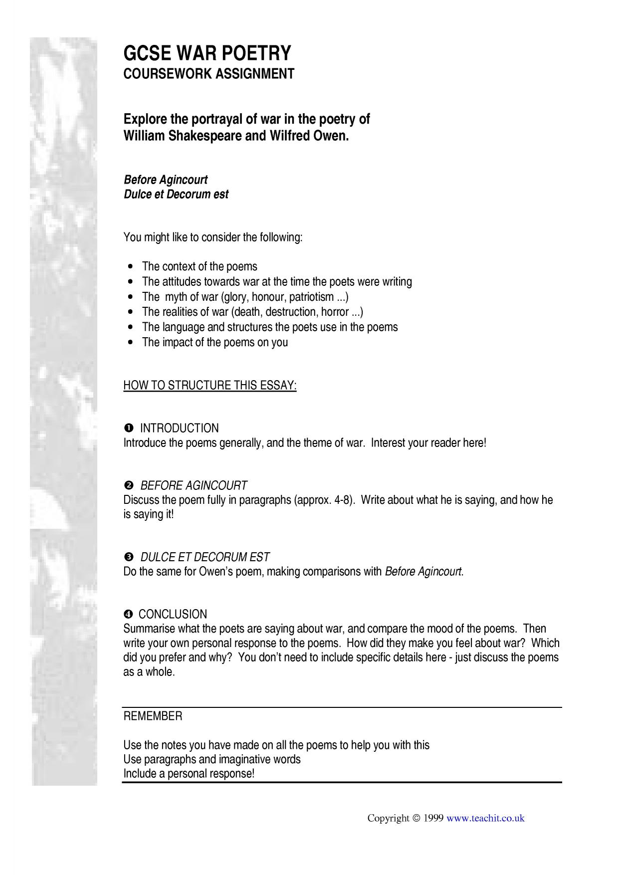 gcse english poem essays As part of the gcse english literature course re-read poem 'a' and make brief notes either around the poem, if you are able, or on a separate sheet.