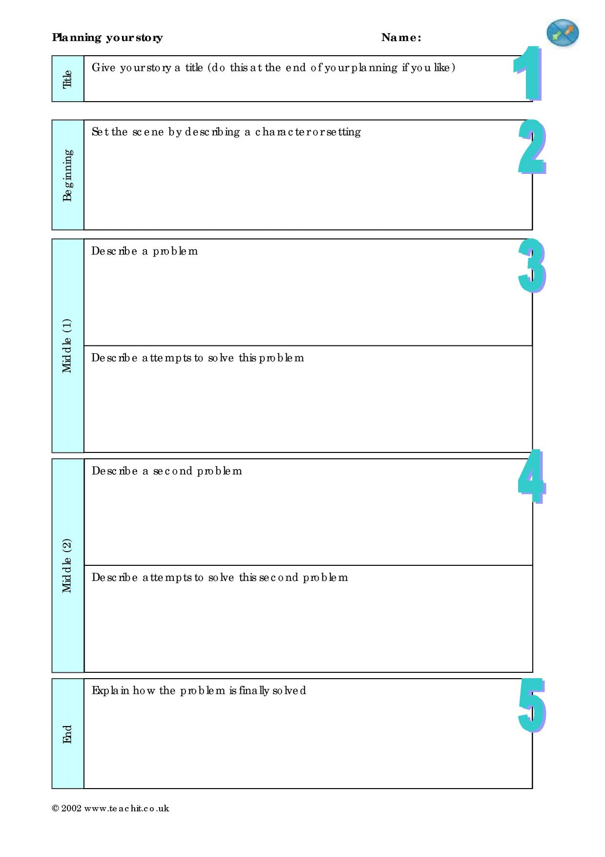 narrative writing planning sheet