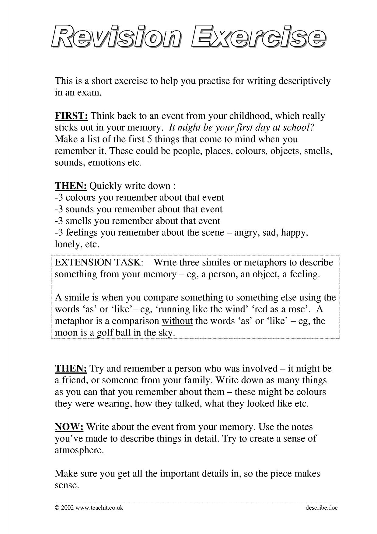 "descriptive writing checklist Student checklist for narrative essay don't tell"" style of writing i have used descriptive words."
