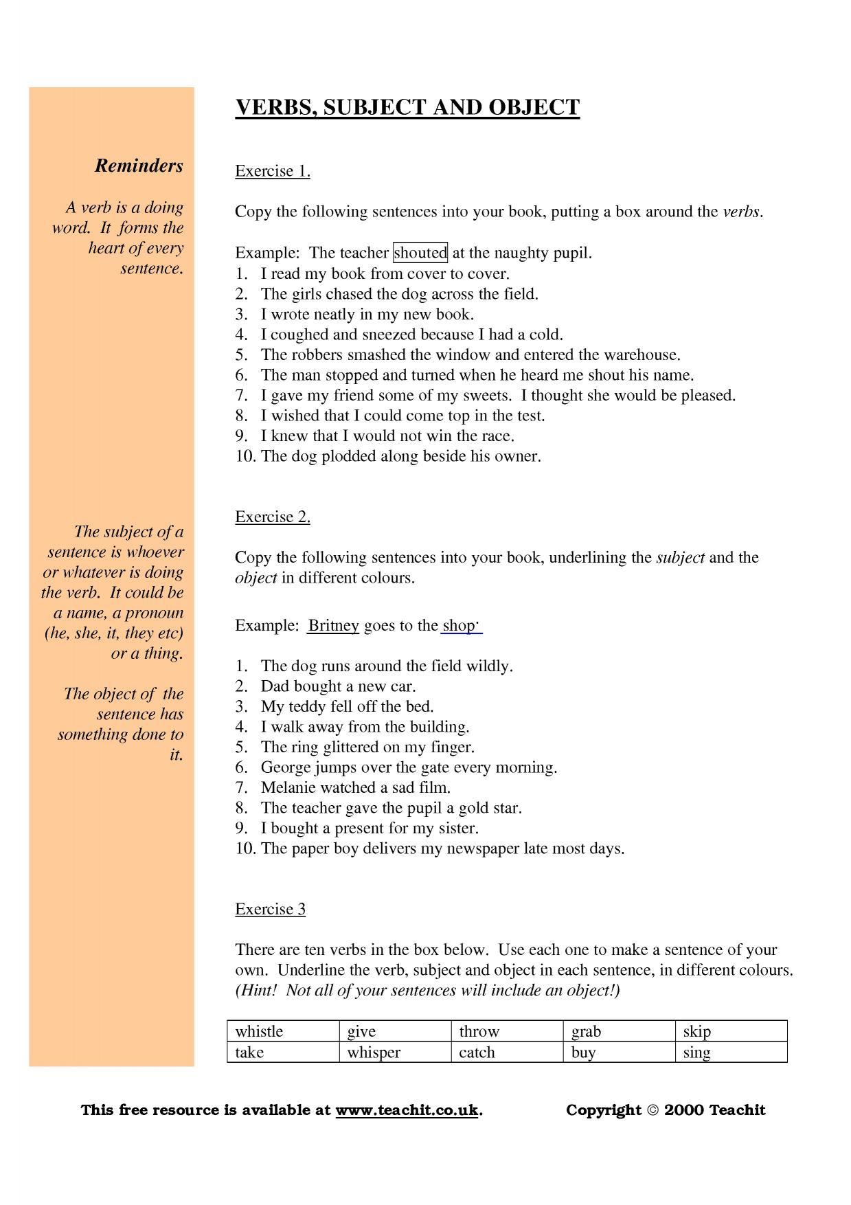 - Grammar: Subject Verb Object Worksheet