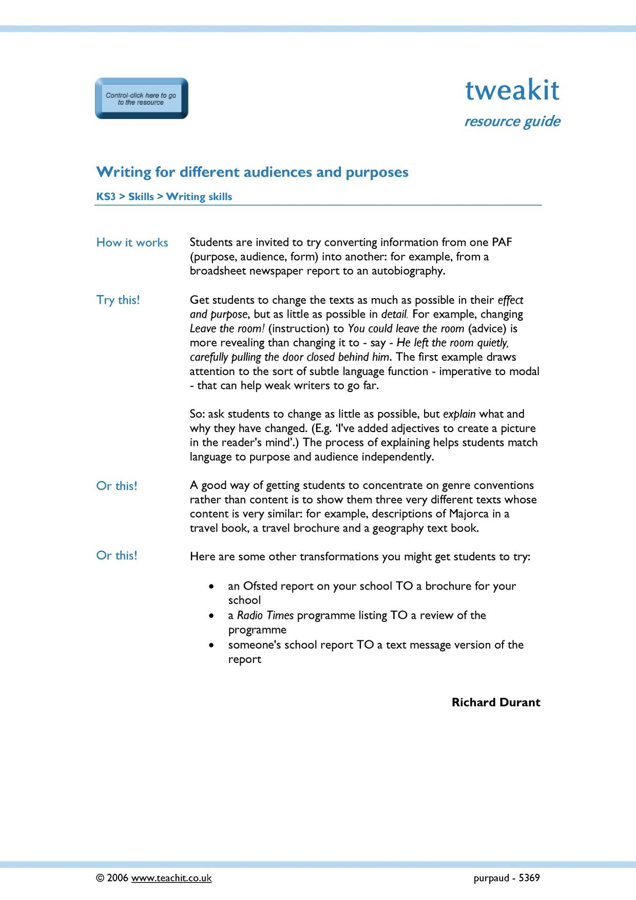 writing for purpose and audience ks resources all 1 preview