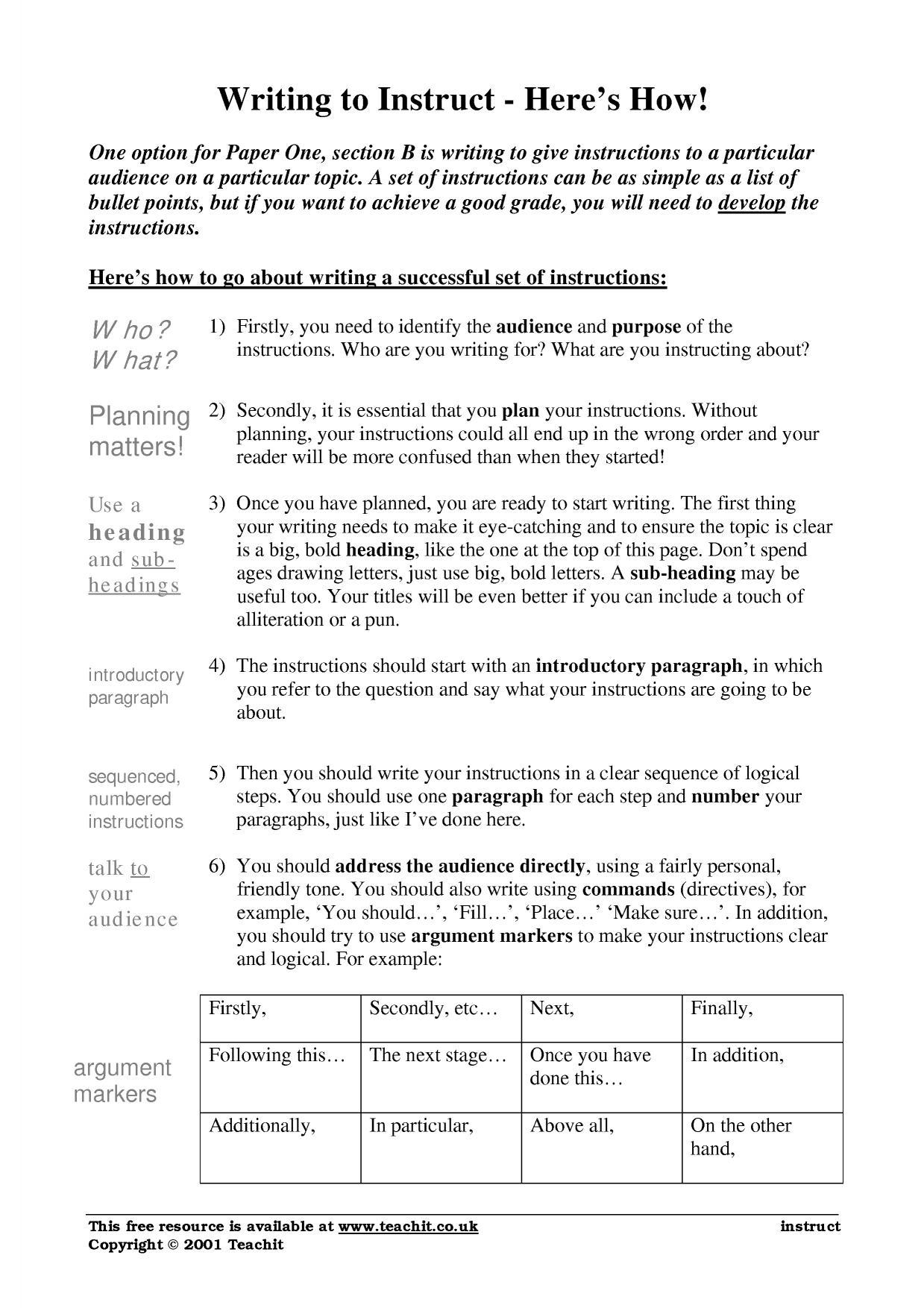 Writing Instructions Writing To Inform Explain