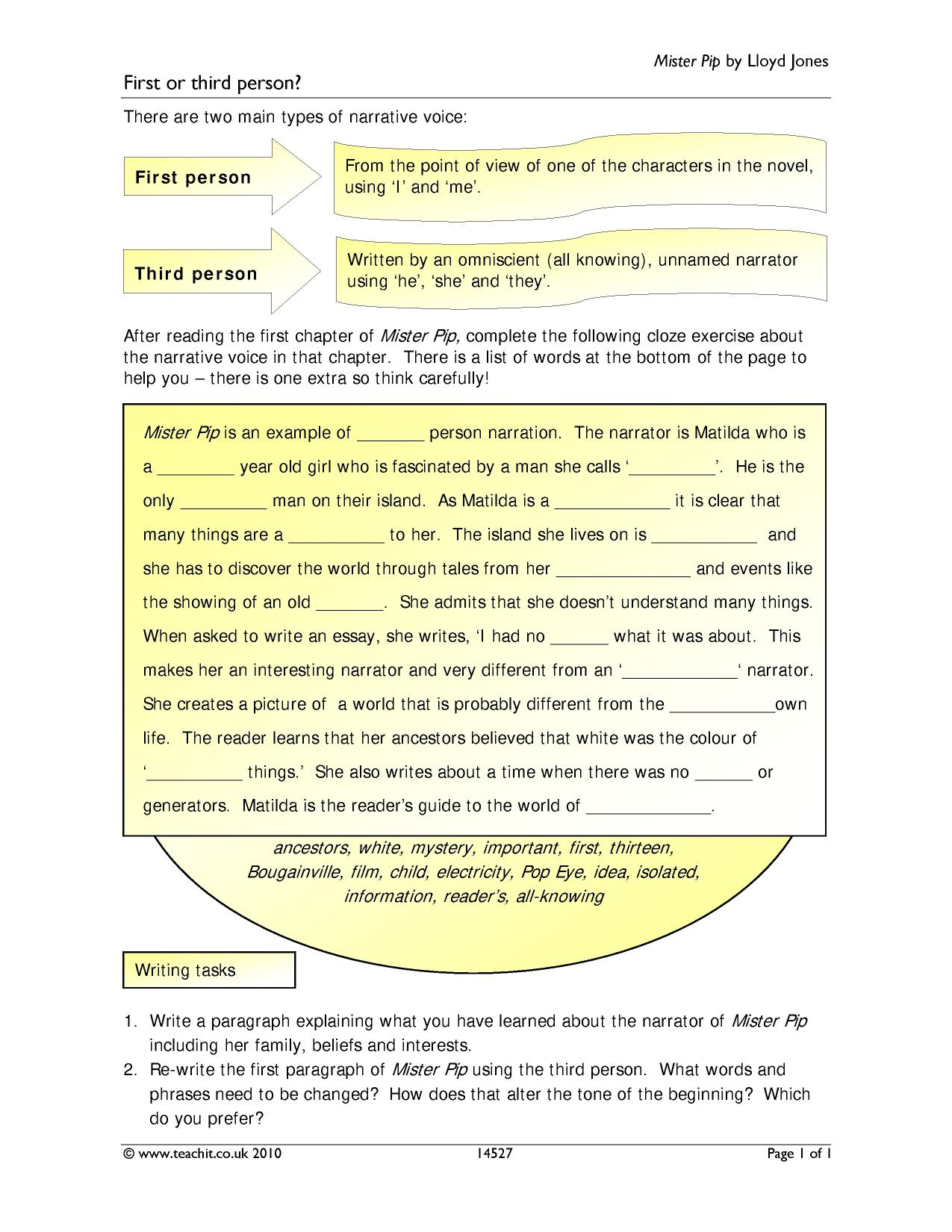 mister pip by lloyd jones ks4 prose key stage 4 resources 0 preview