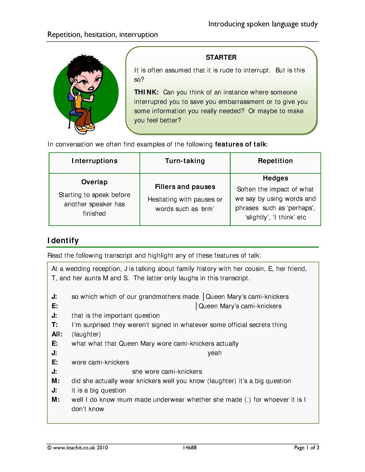 Spoken language study - search results - Teachit English