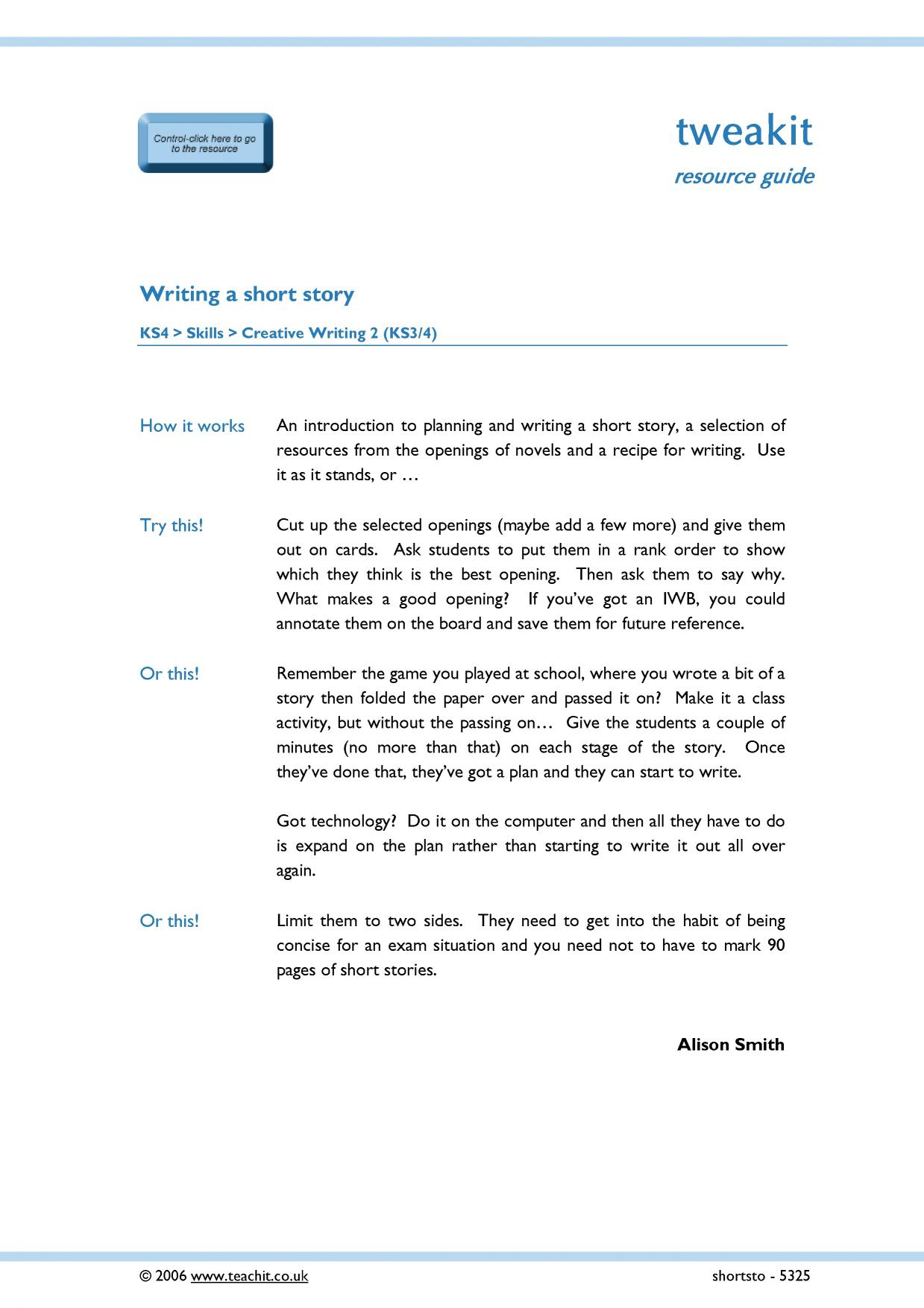 creative writing tasks ks4