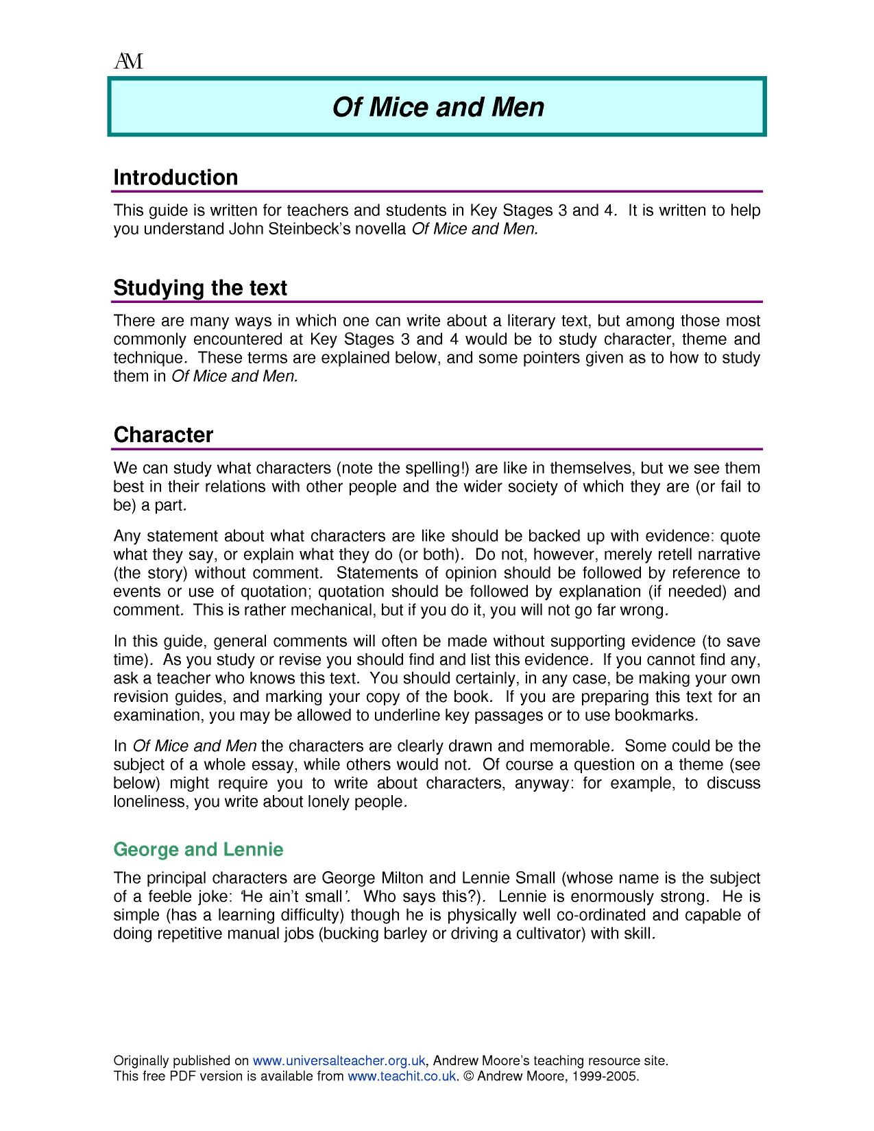 Of Mice And Men Quotes With Page Numbers Ks4  Of Mice And Menjohn Steinbeck  Teachit English