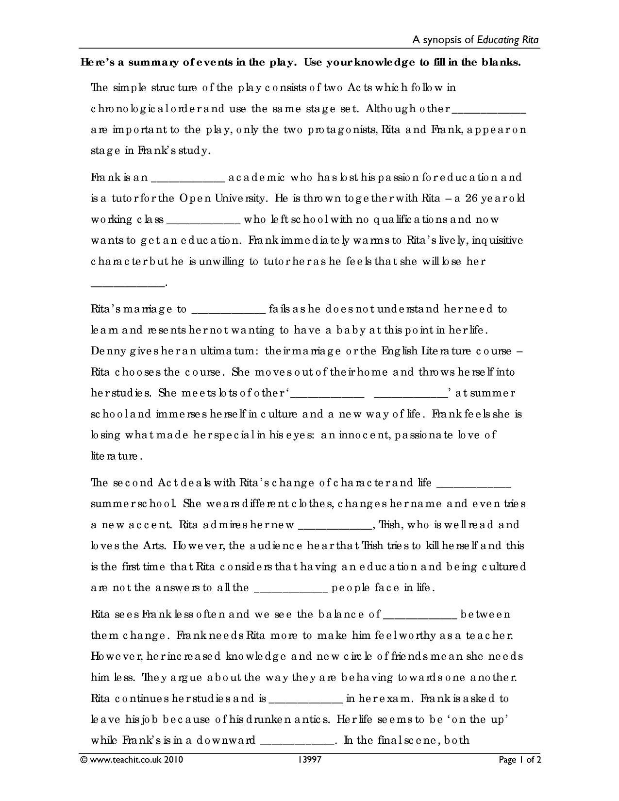 educating rita belonging essays Watch the video below as an introduction to module c remember that our text is educating rita educating_rita__analysis_belonging educating_rita_sample_essay.