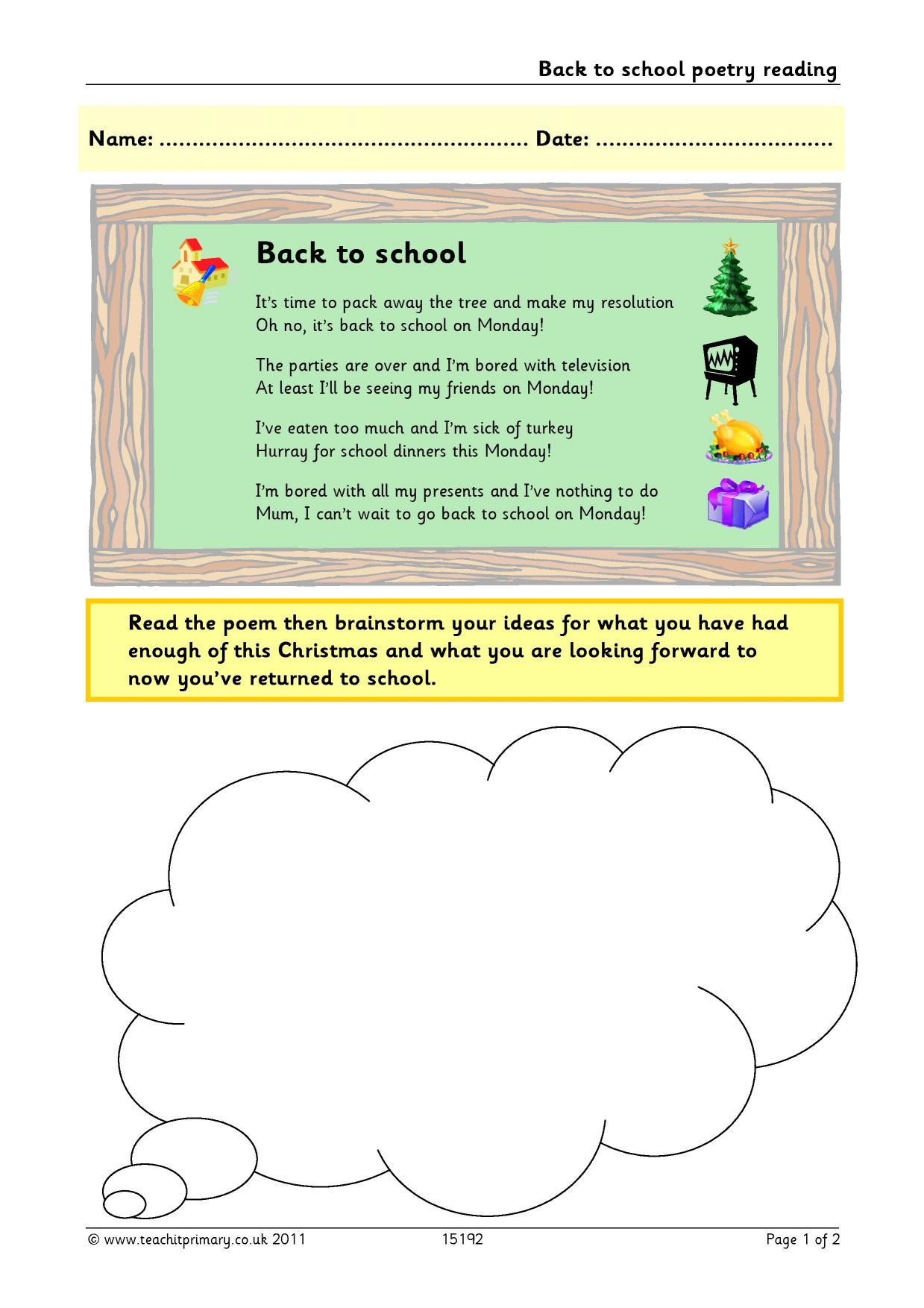 Eyfs Ks1 Ks2 Poems On A Theme Teachit Primary
