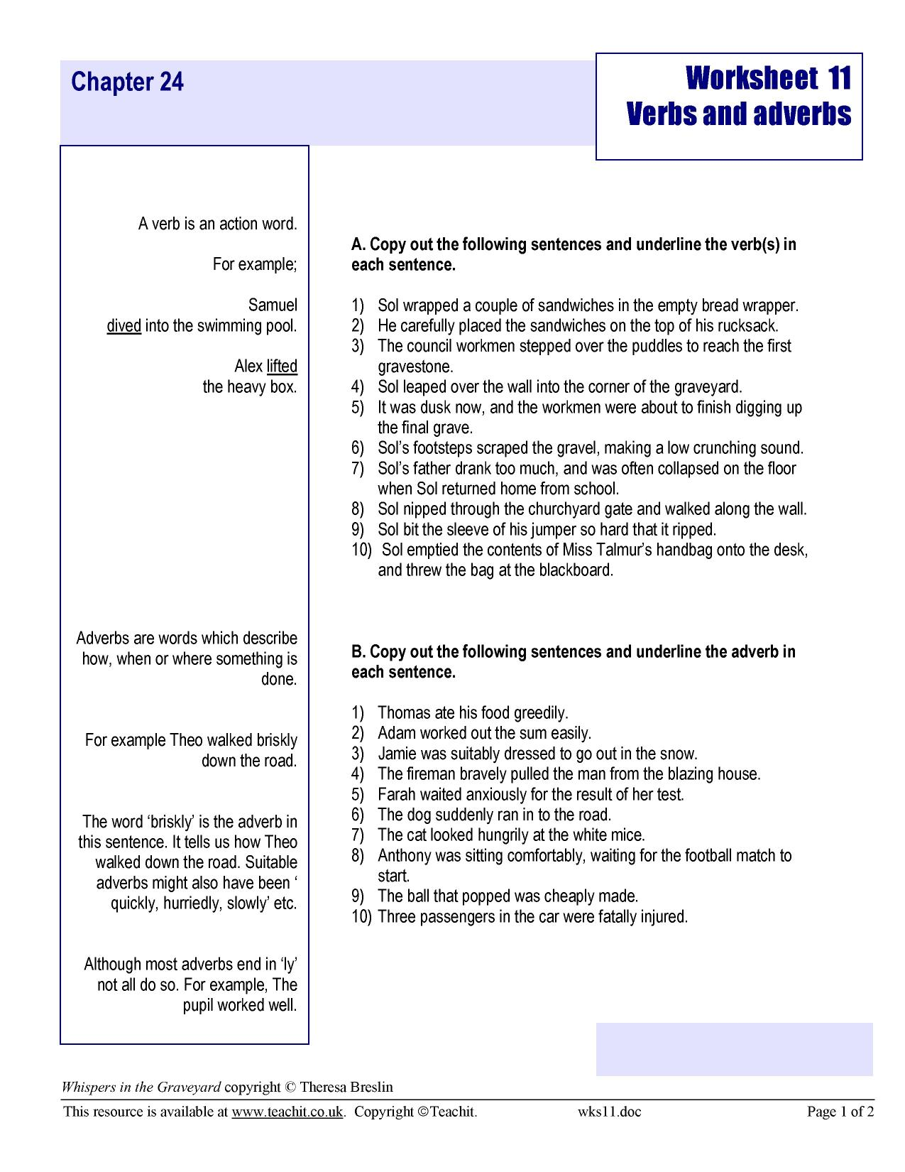 Worksheet 11 - verbs and adverbs * - Whispers in the Graveyard by ...