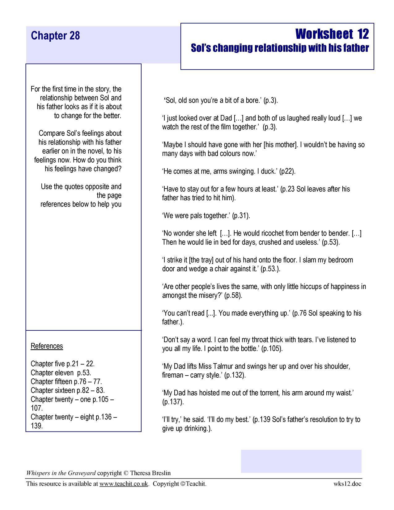 Worksheet 12 - Sol's changing relationship with his father