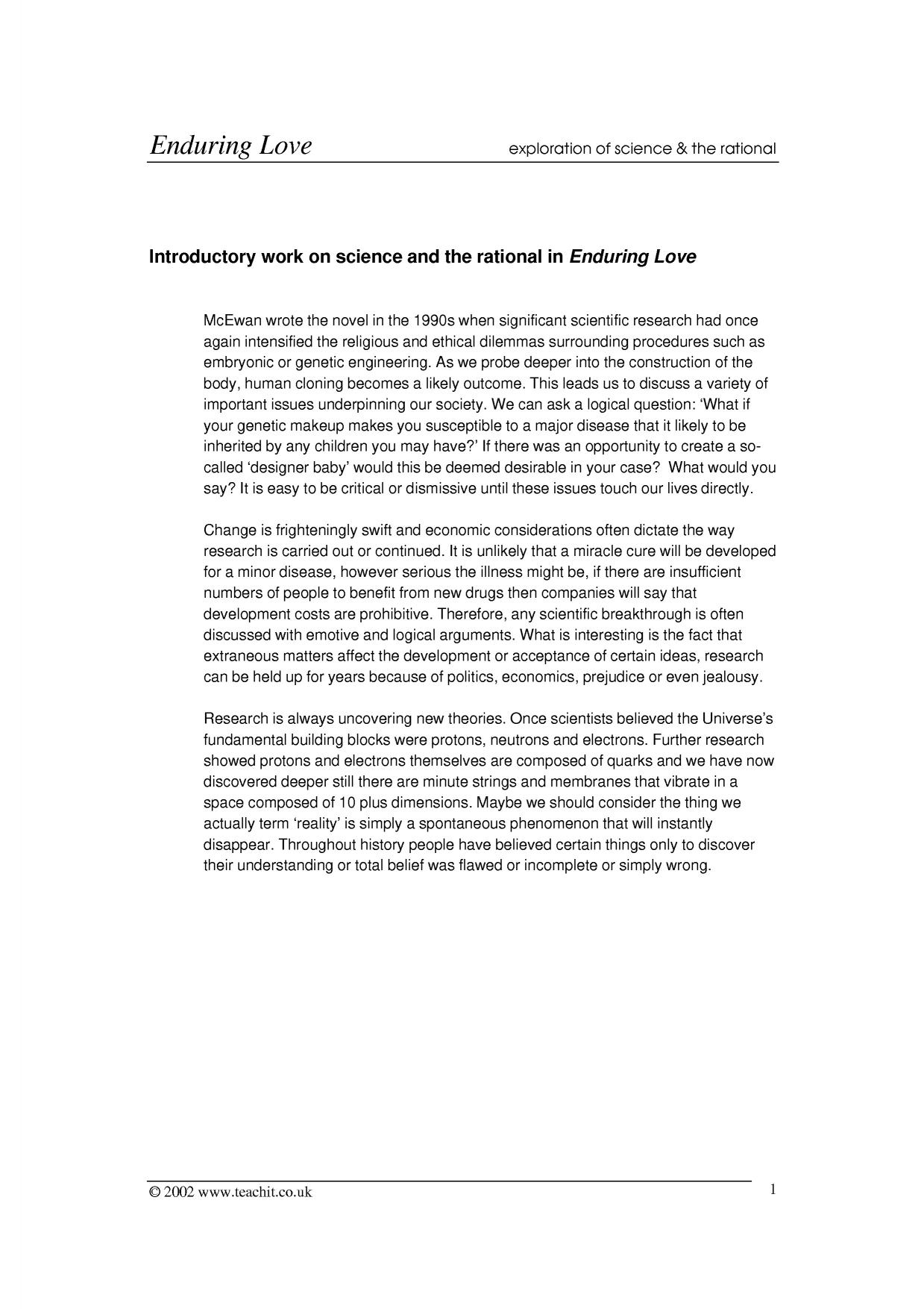 Enduring love essay questions