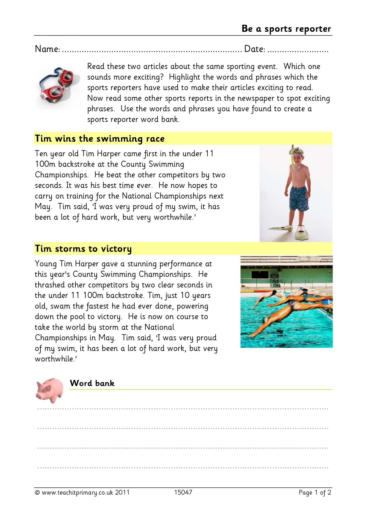 Sports - Teachit Primary