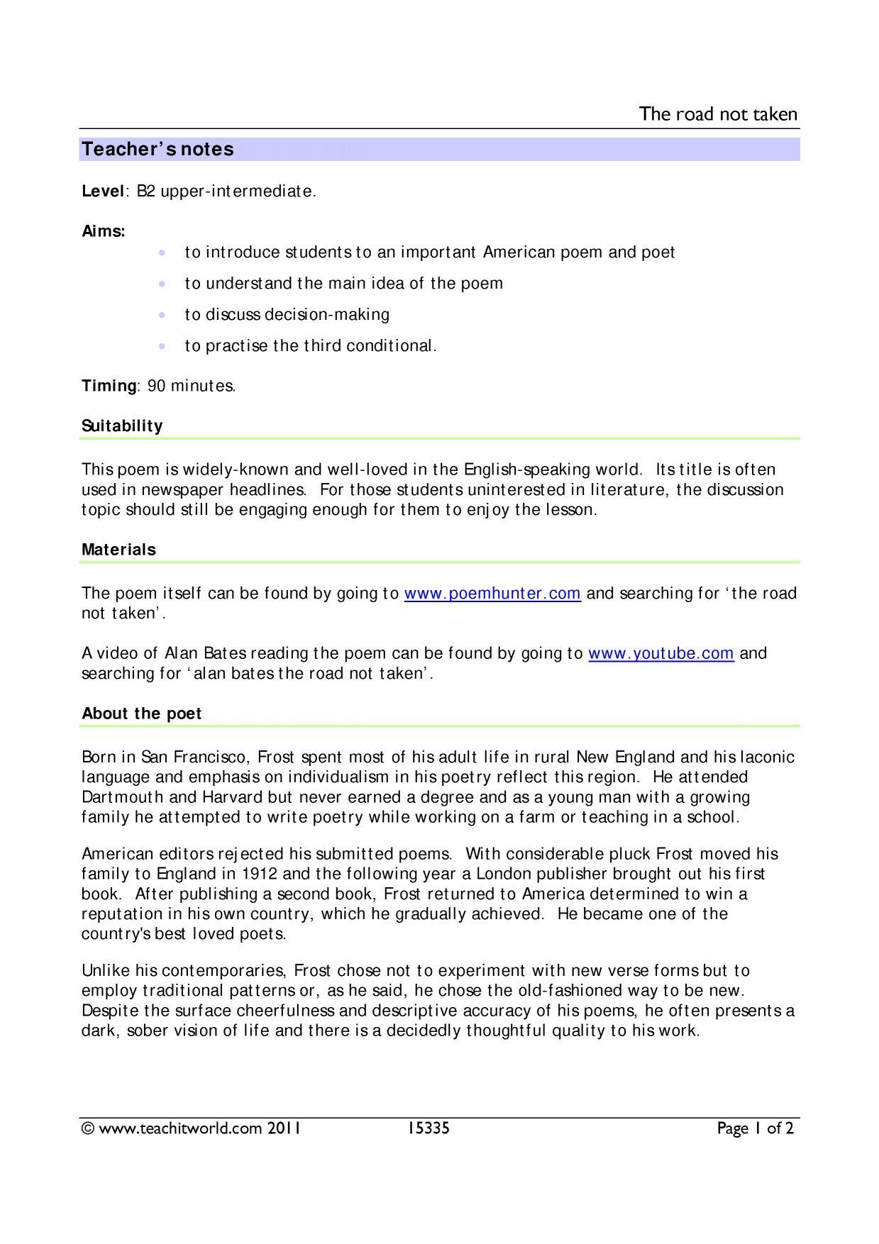 worksheet The Road Not Taken Worksheet eal resources teachit languages 2 preview