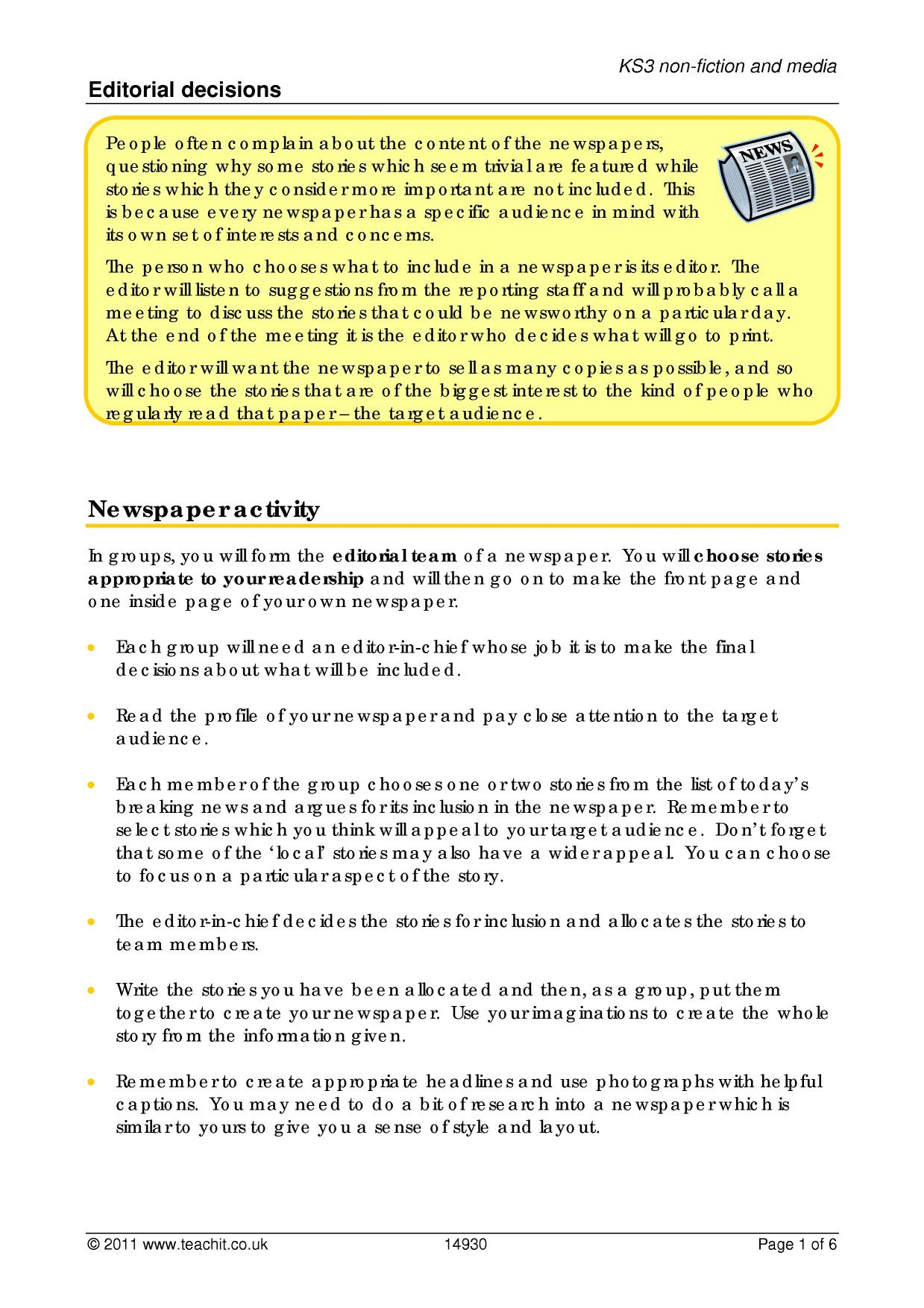 Media Texts Ks3 Writing Key Stage 3 Resources