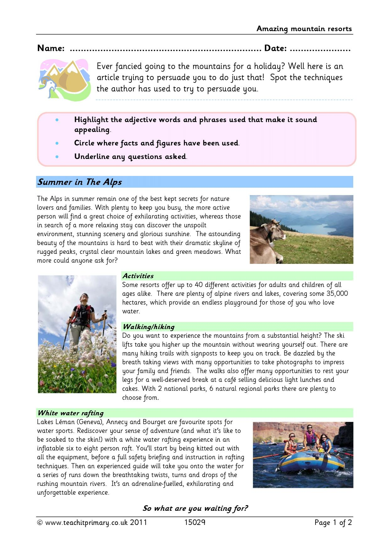 Persuasive writing writing composition ks2 english for Travel brochure template ks2