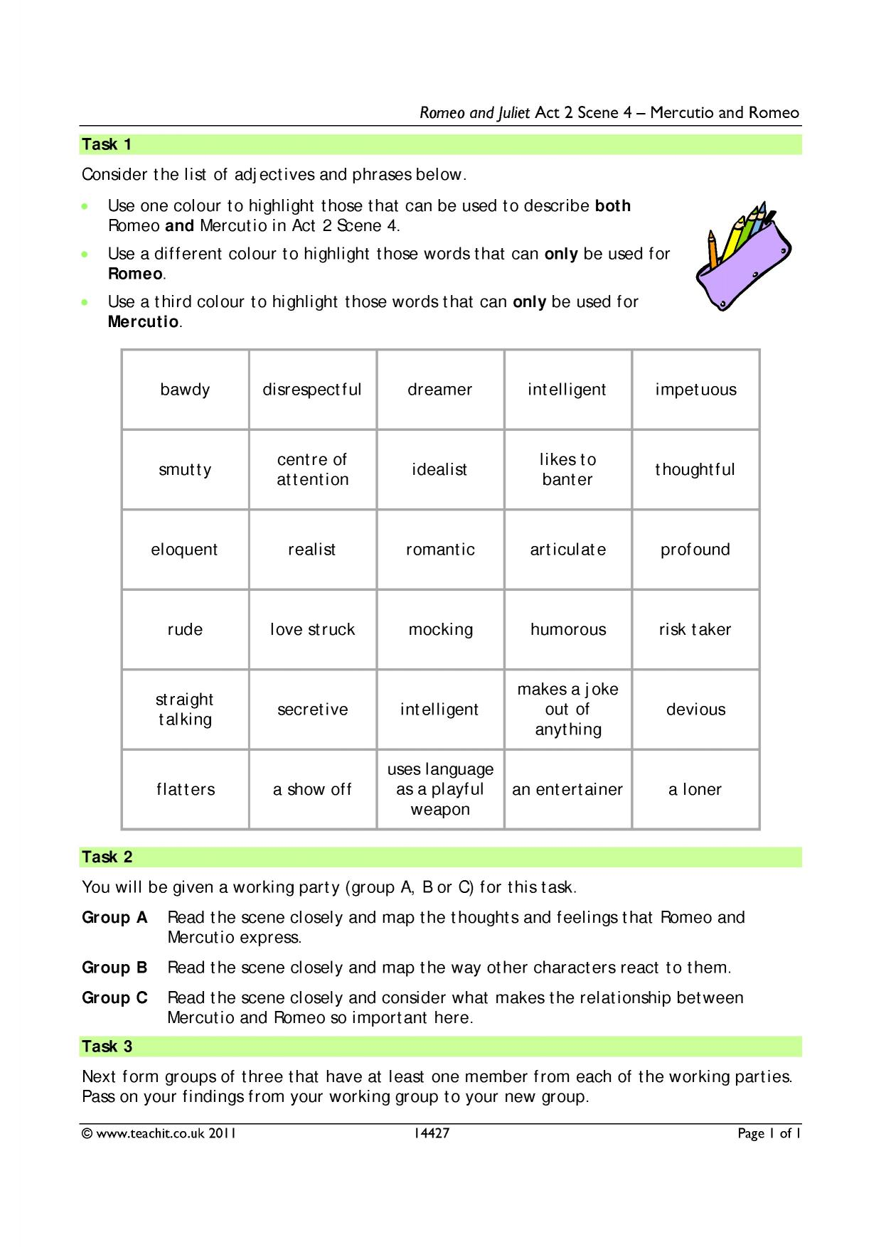 romeo juliet act v study questions essay Through the study of romeo & juliet prepare rubrics for the group scene presentation and the mini essay banishment questions quiz on act 3 hw: read rest of 35.