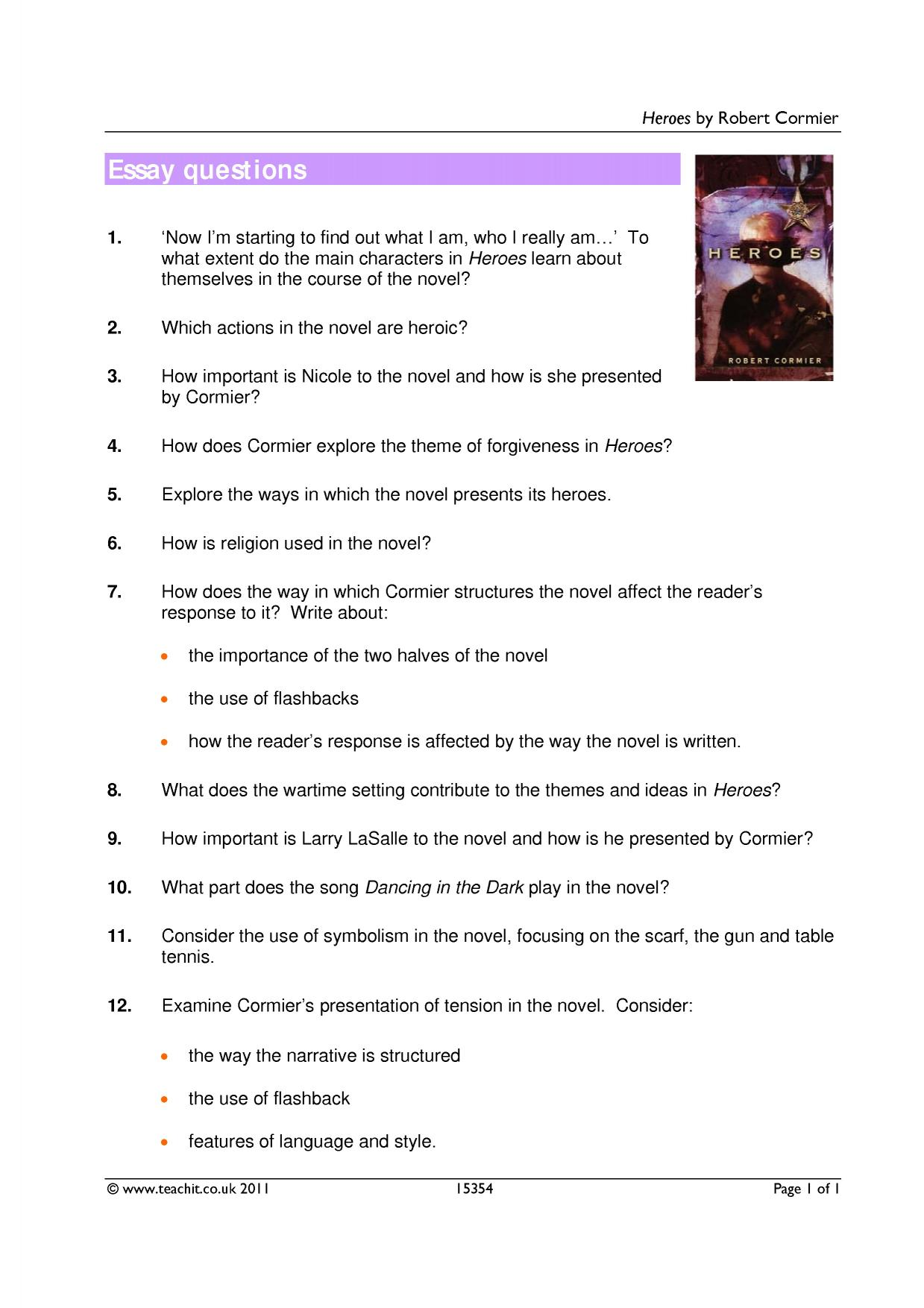 heroes essay questions heroes by robert cormier ks4 prose resource thumbnail