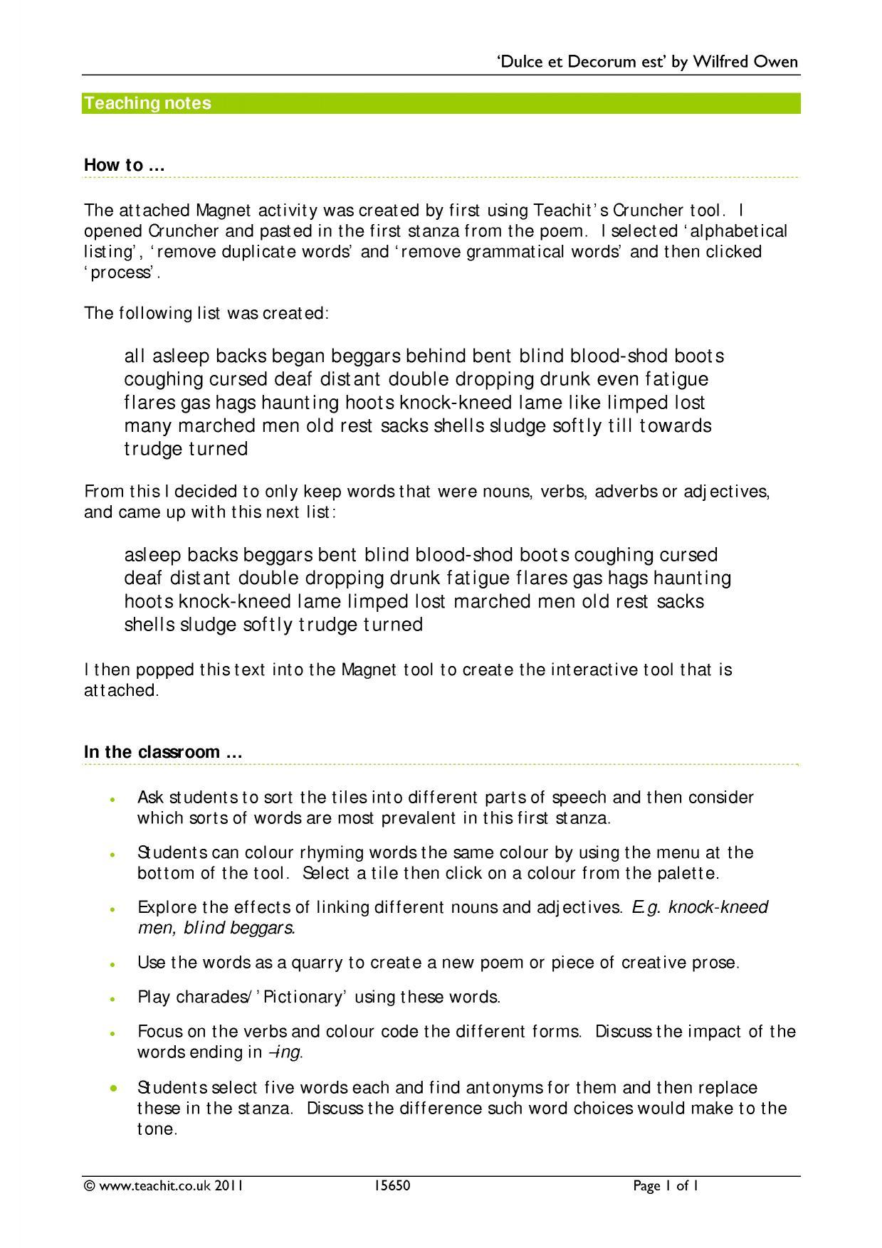 rupert brooke wilfred owen - search results - Teachit English